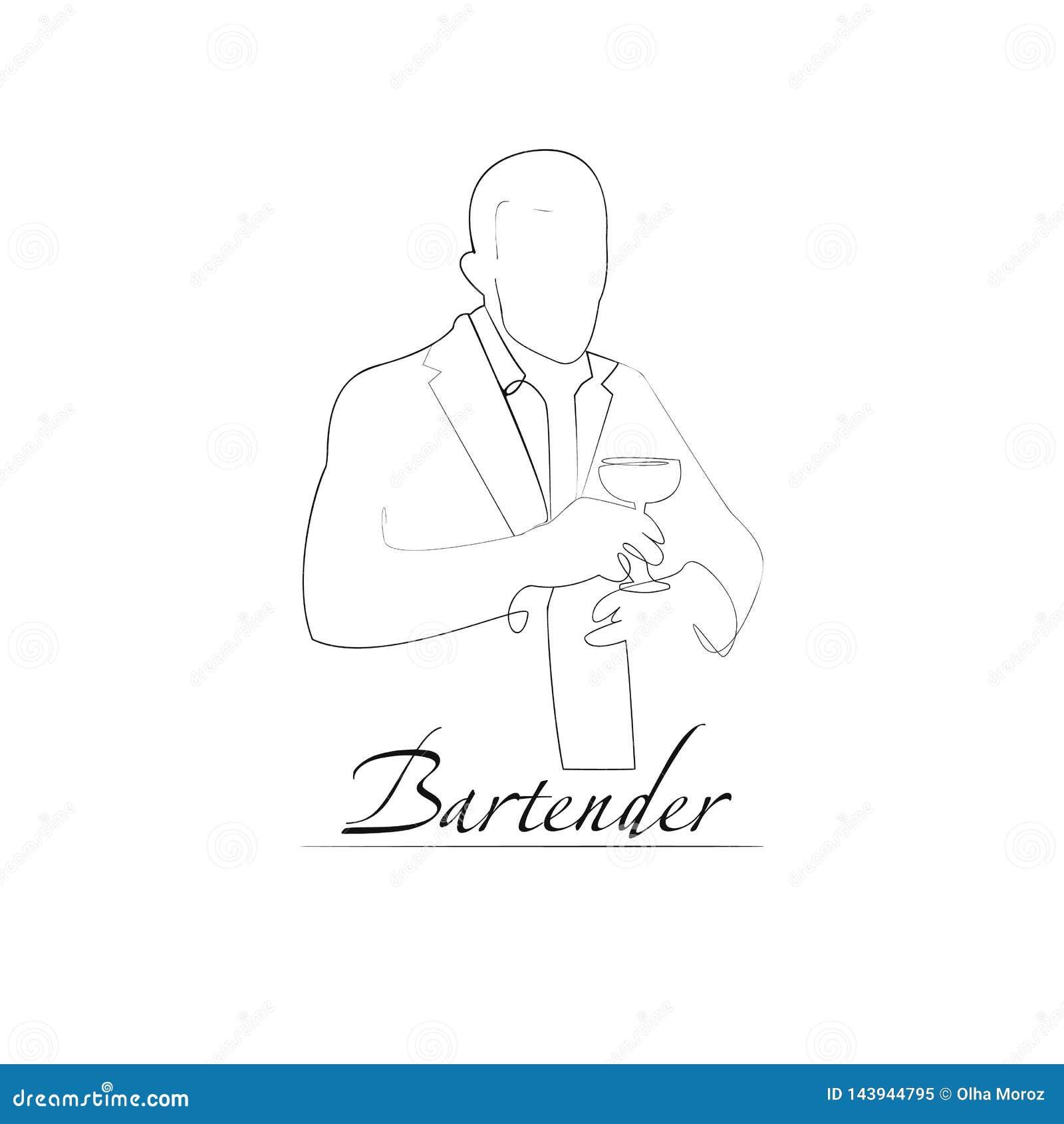 Wektorowa ilustracja barman Konturu styl