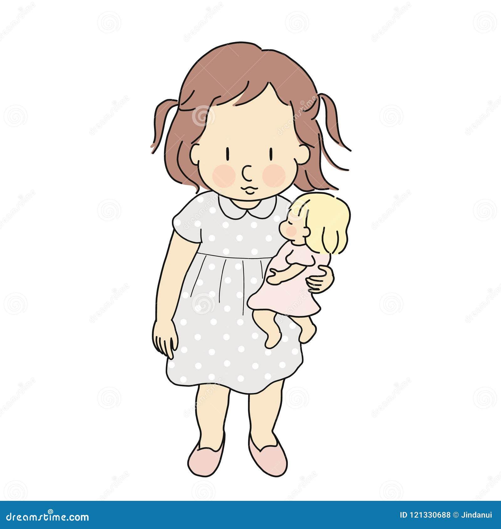 Wektorowa ilustracja bawić się dziecka małe dziecko dziewczyna - lala Szczęśliwi dzieci dni, dziecko bawić się pojęcie Postać z k
