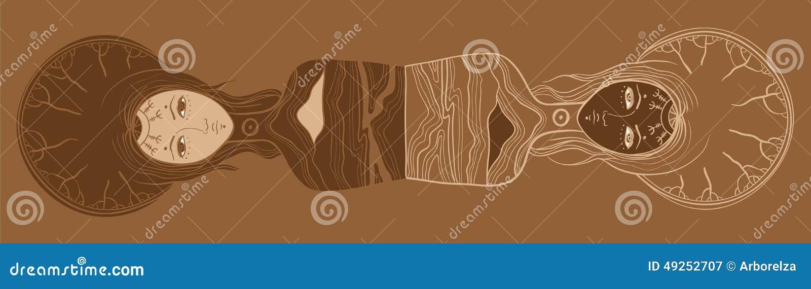 Wektorowa ilustracja bliźniacy, Yin, Yang, ciało i dusza, dualizm