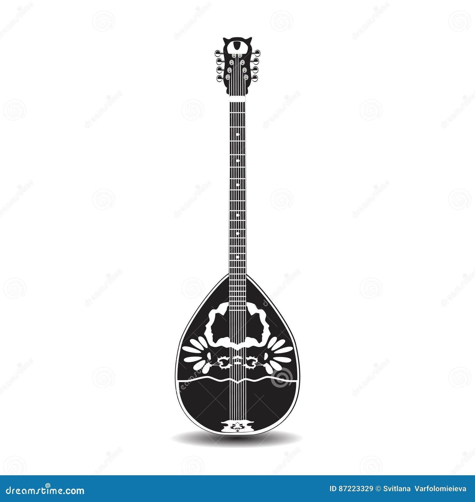 Wektorowa ilustracja bouzouki, grecki ludowy instrument muzyczny w mieszkanie stylu