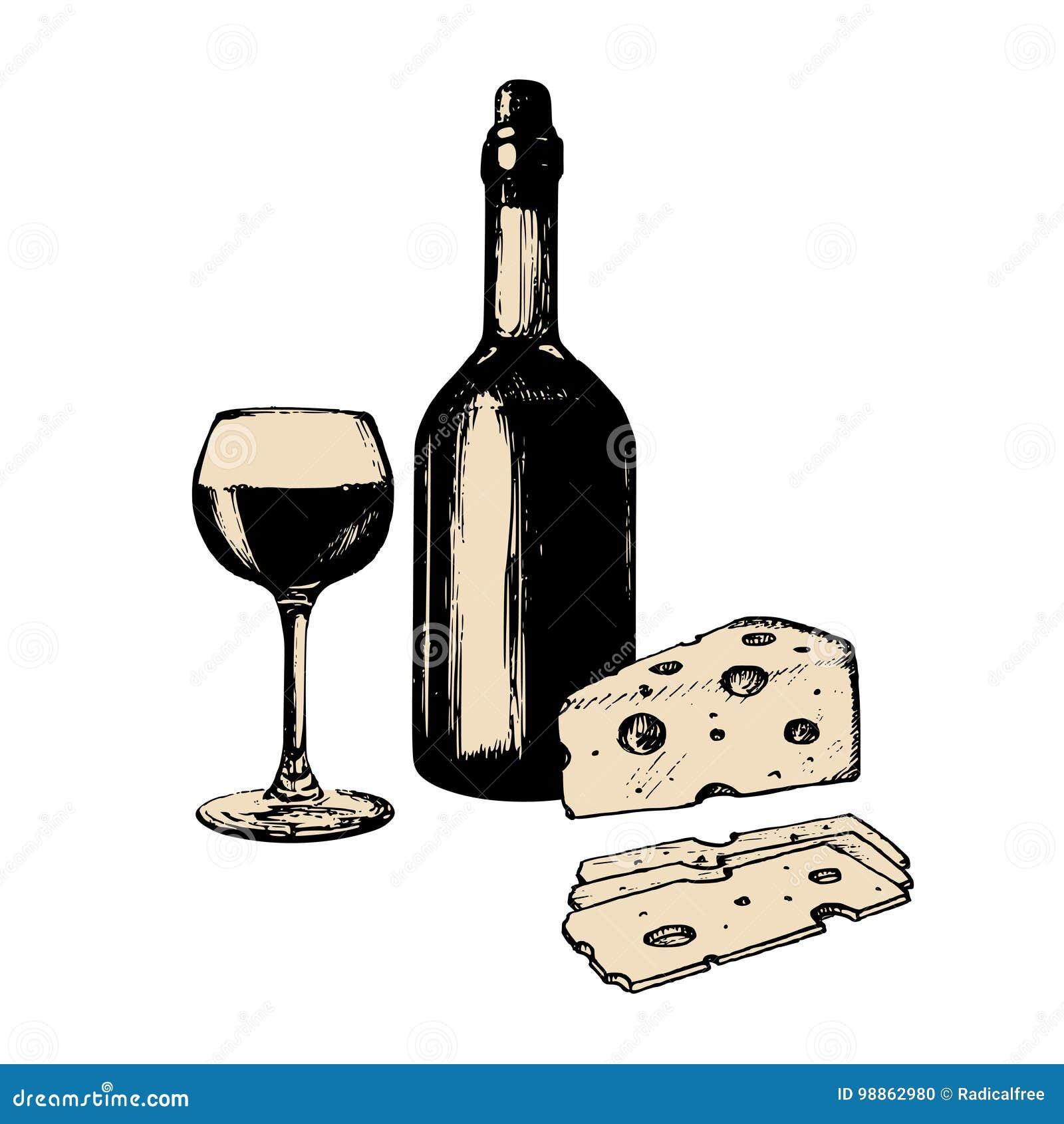Wektorowa ilustracja butelka, szkło i ser wina, Ręka kreślący jedzenia i napoju set Menu projekt dla kawiarni, prętowego etc,