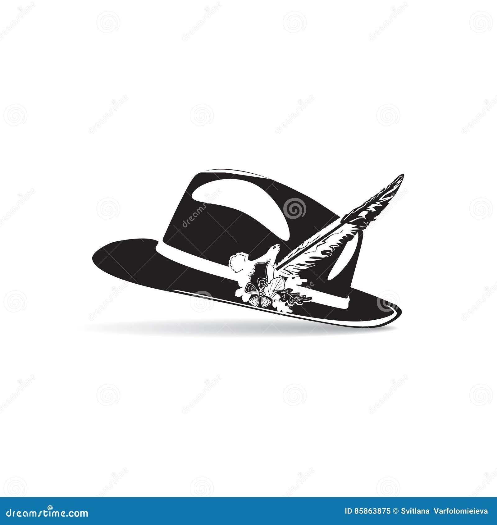 Wektorowa ilustracja czarny i biały łowiecki kapelusz z piórkiem