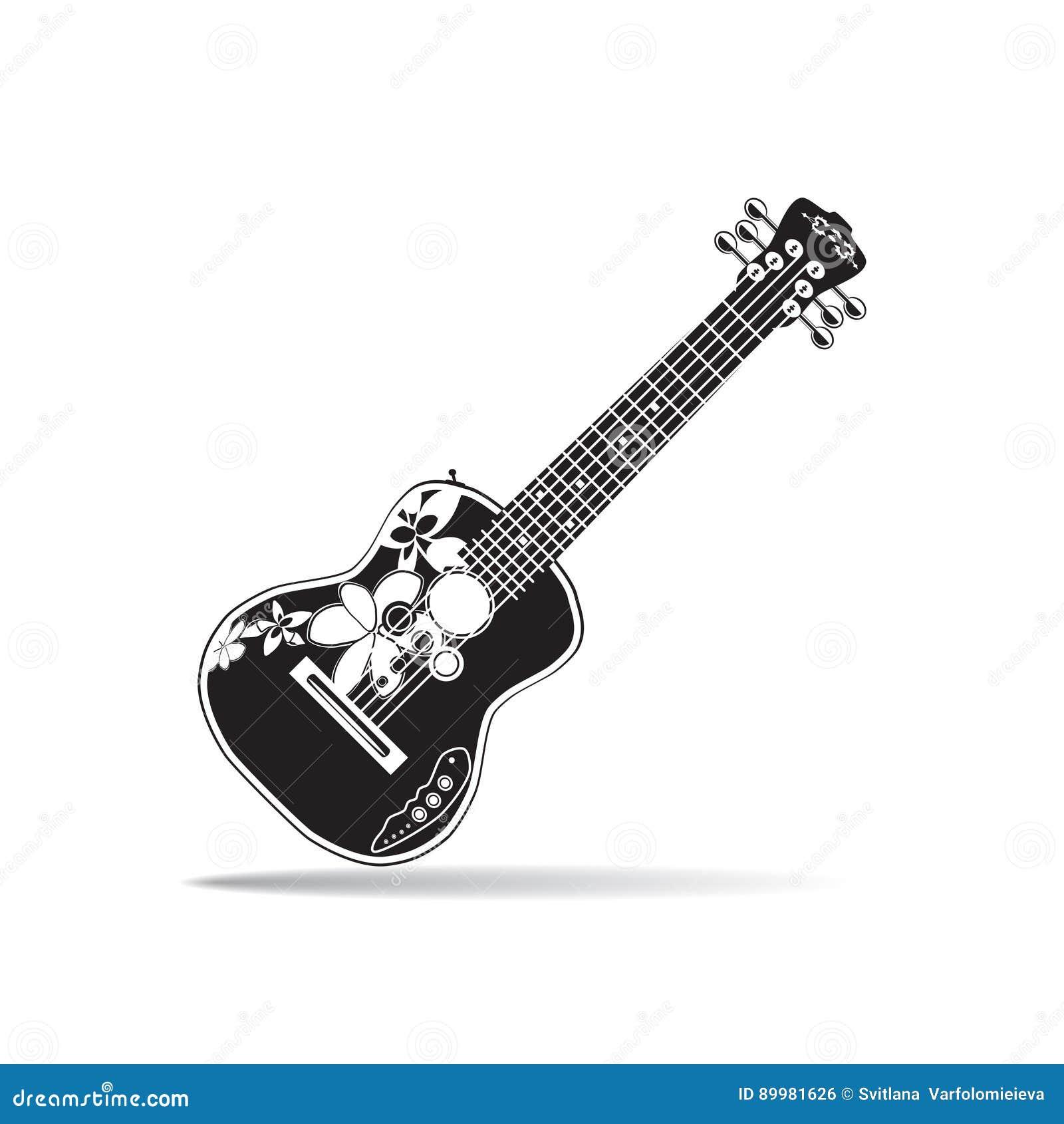 Wektorowa ilustracja czarny i biały hawajczyka ukulele elektryczna gitara w płaskim projekcie