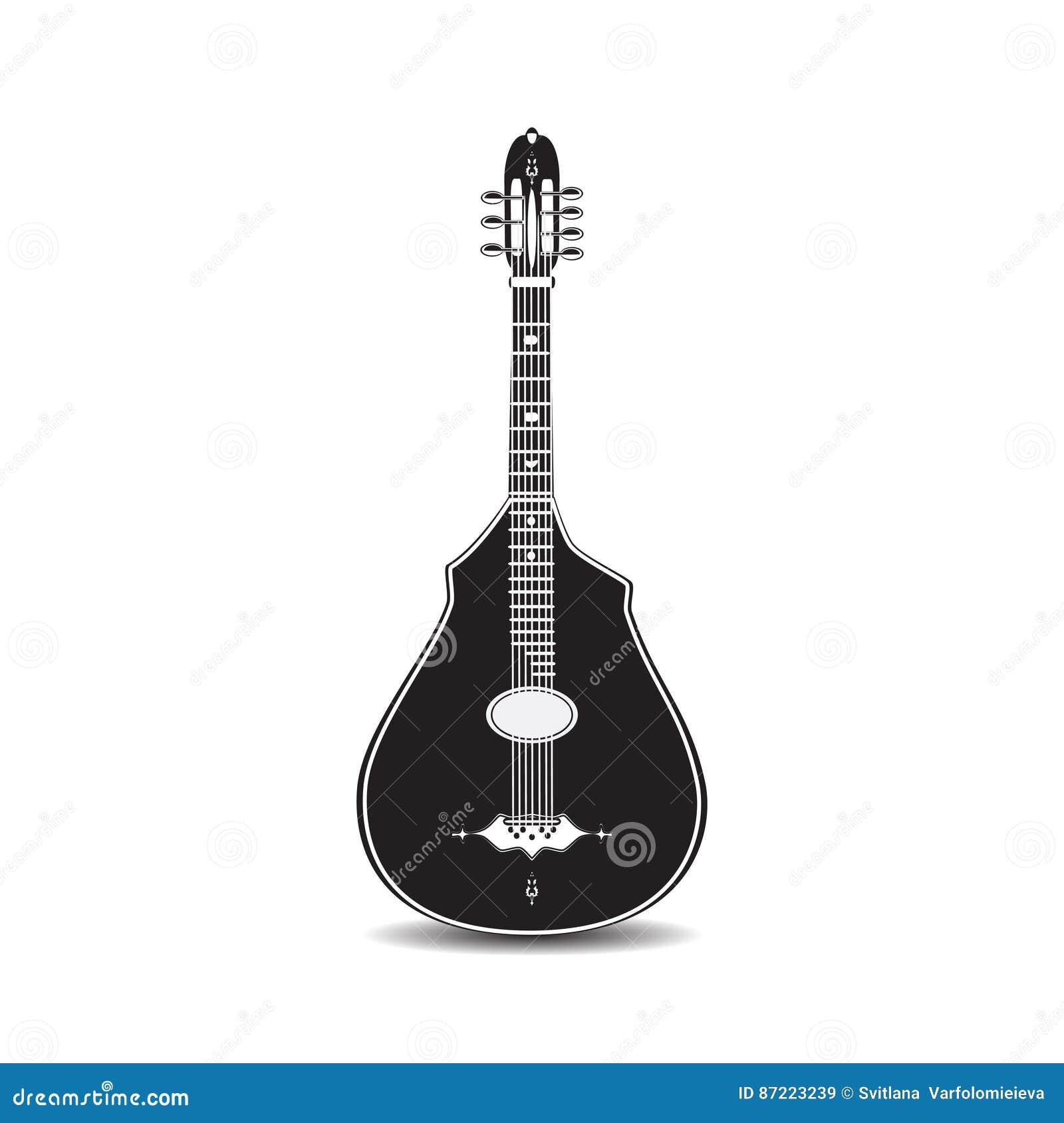 Wektorowa ilustracja czarny i biały klasyczna gitara akustyczna odizolowywająca na białym tle