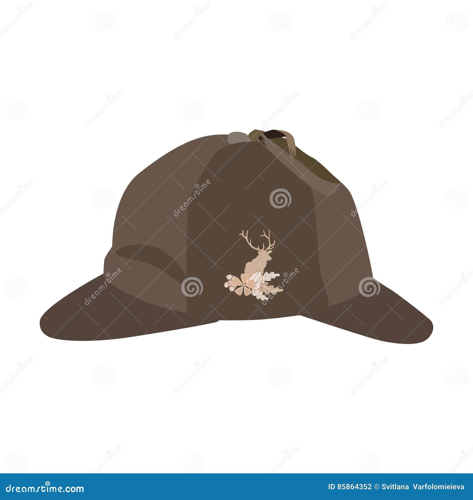 Wektorowa ilustracja deerstalker kapelusz w mieszkanie stylu