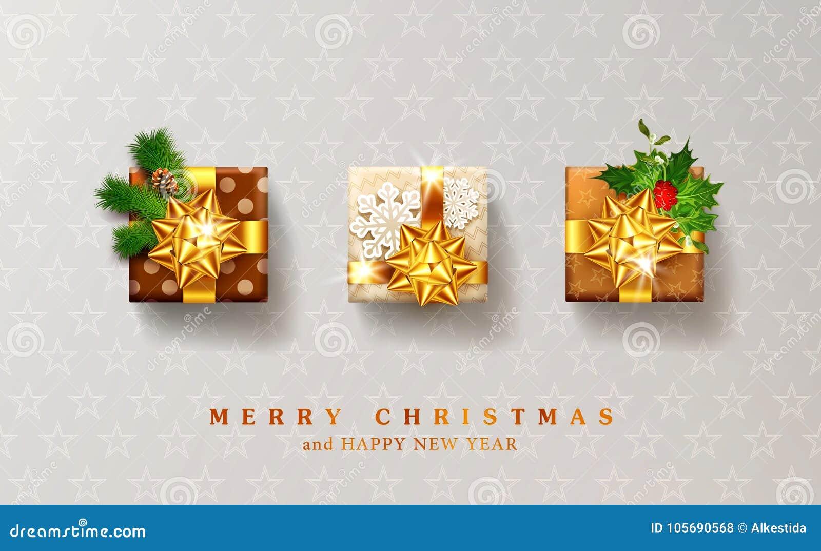 Wektorowa ilustracja dla bożych narodzeń i nowego roku Trzy upakowany gif