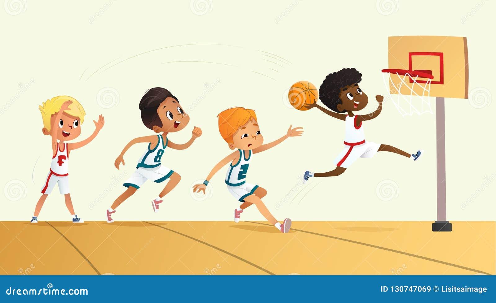 Wektorowa ilustracja dzieciaki Bawić się koszykówkę Drużynowa Bawić się gra Drużynowa rywalizacja