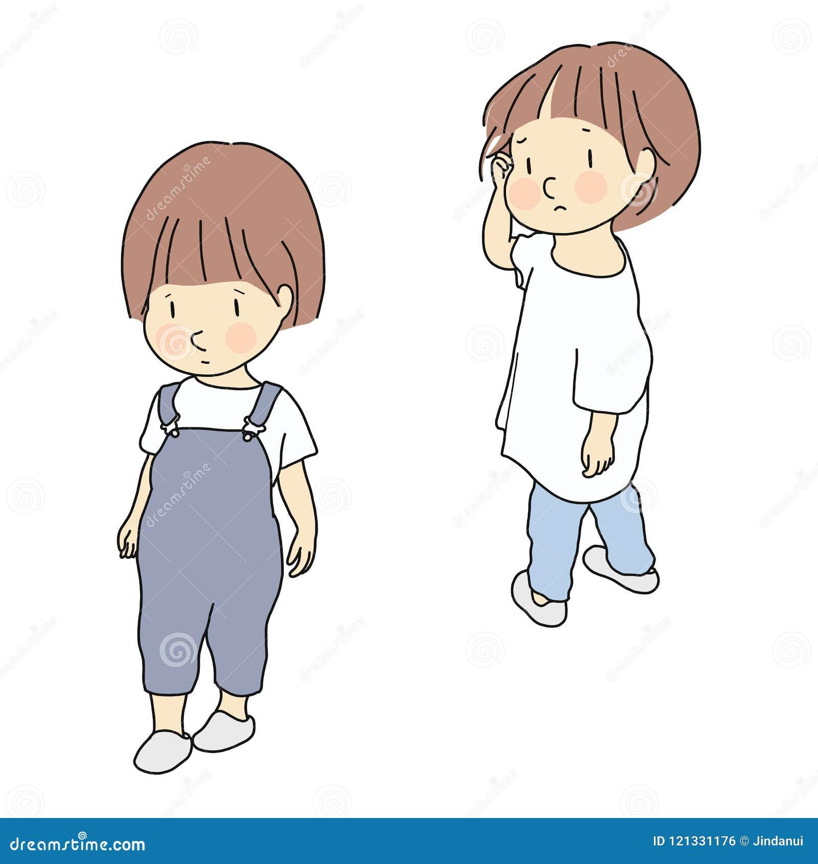 Wektorowa ilustracja dziecko konflikt Związek, rodzeństwa