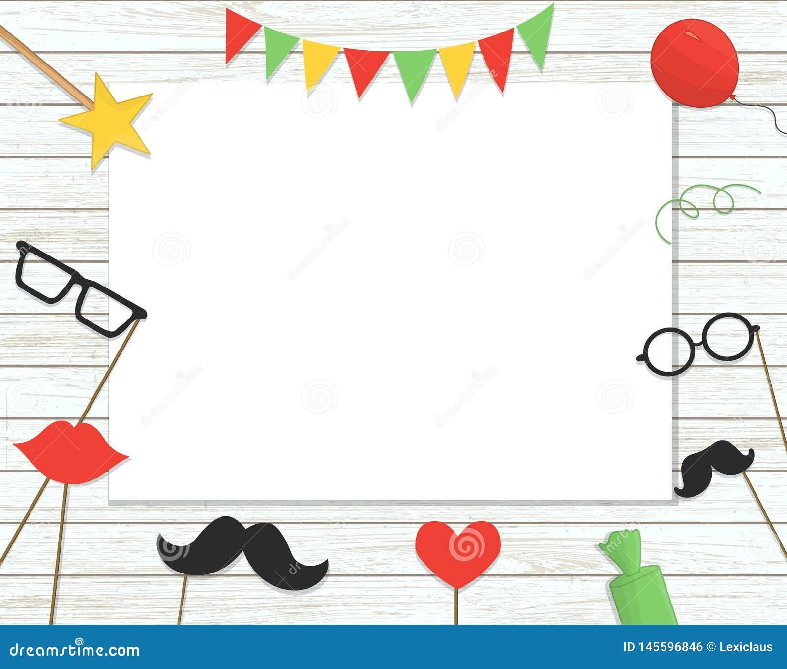 Wektorowa ilustracja fotografii budka wsparcia na kiju, balony, confetti, tera?niejszo??, cukierki na pod?awym drewnianym tle