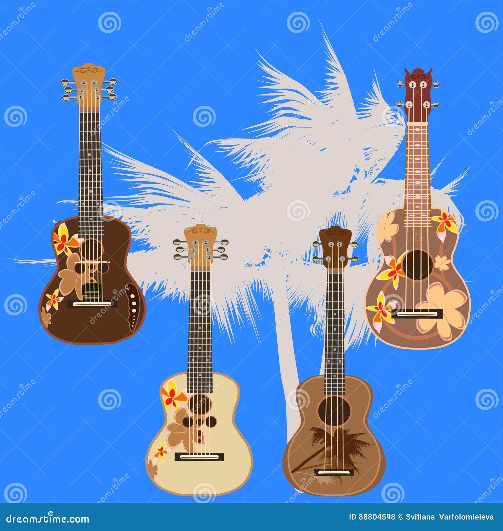 Wektorowa ilustracja hawajczyk gitary elektrycznej ukulele odizolowywający na białym tle