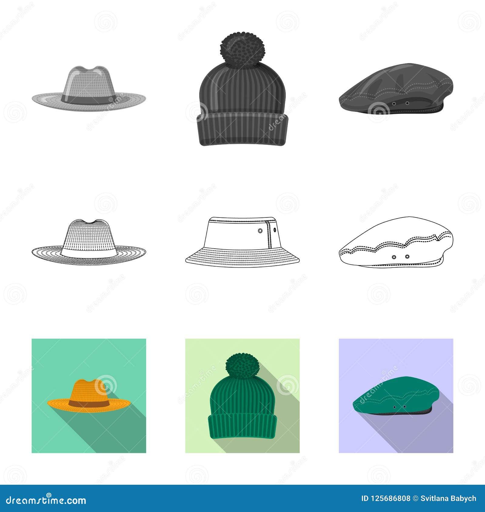 Wektorowa ilustracja headwear i nakrętki ikona Set headwear i akcesorium akcyjna wektorowa ilustracja