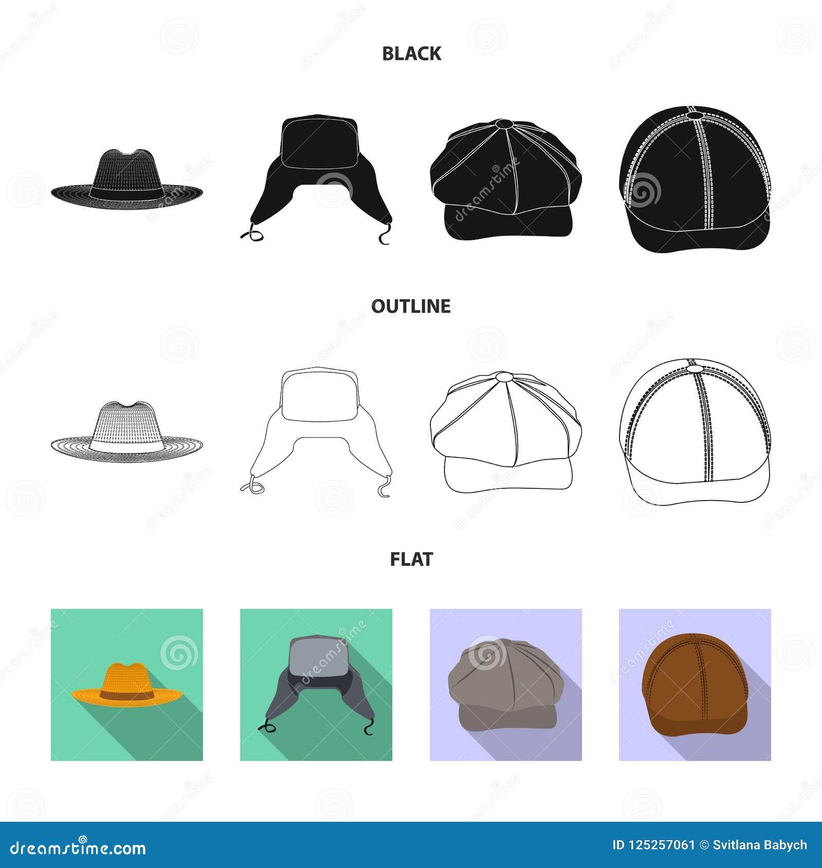 Wektorowa ilustracja headwear i nakrętki symbol Kolekcja headwear i akcesorium akcyjna wektorowa ilustracja