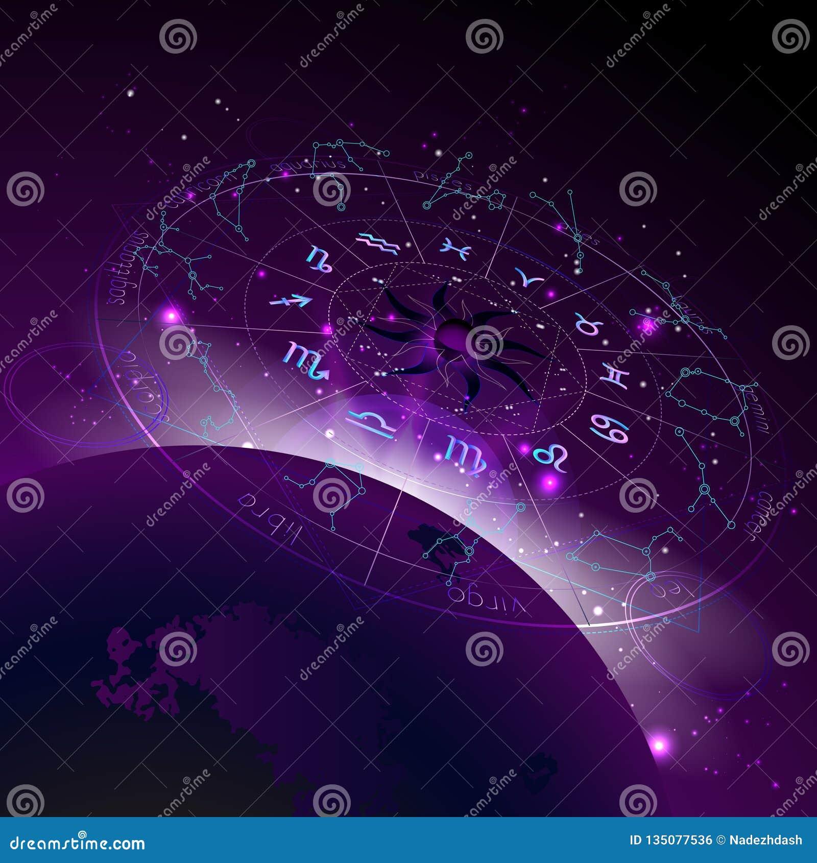 Wektorowa ilustracja horoskopu okrąg w perspektywie, zodiak podpisuje i piktogram astrologia planetuje przeciw astronautycznemu t