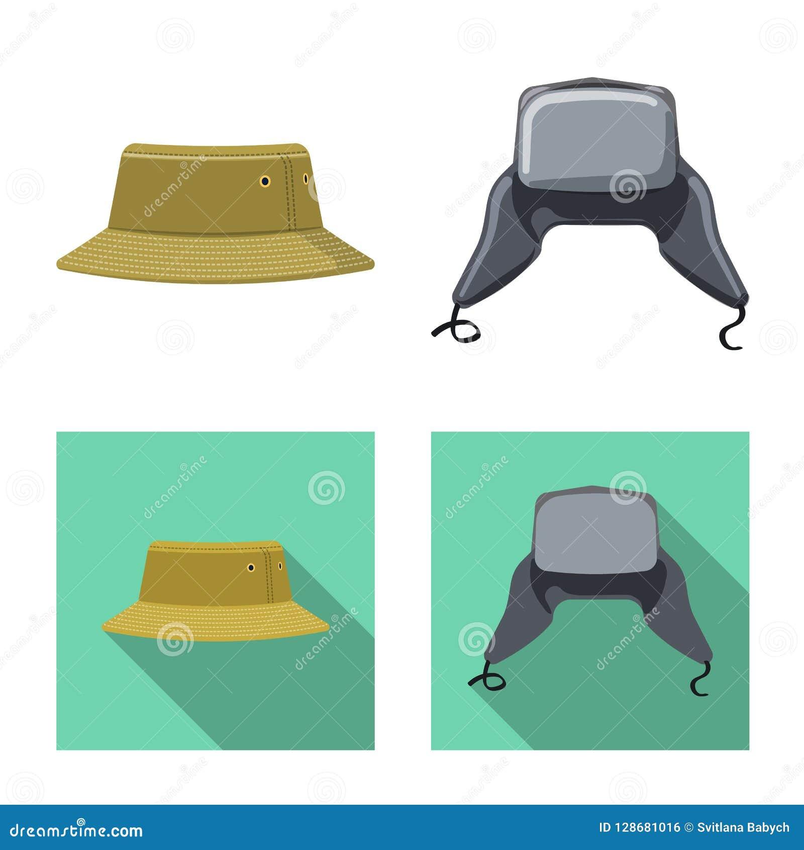 Wektorowa ilustracja kłobuku i nakrętki ikona Set kłobuku i akcesorium akcyjna wektorowa ilustracja