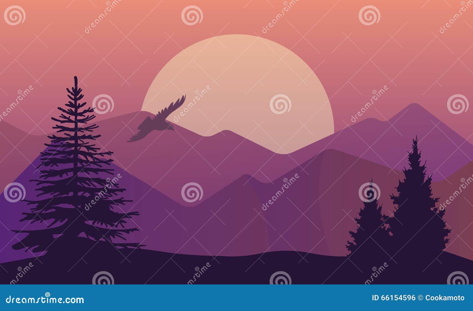Wektorowa ilustracja krajobraz w północnych terenach, evening półmrok z sosnowym lasem na skałach Sceniczny widok łąka z