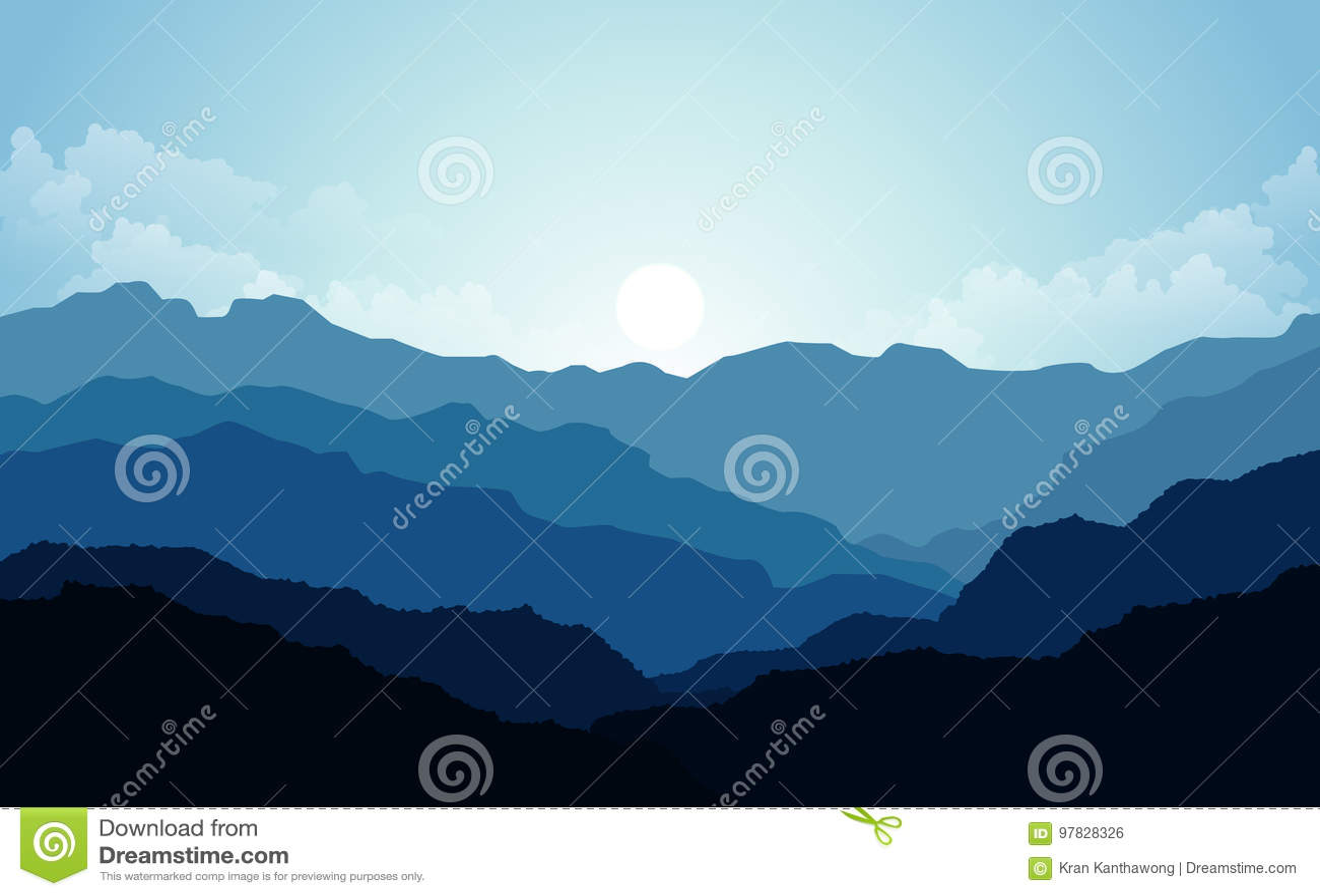 Wektorowa ilustracja, Krajobrazowy widok z zmierzchem, wschód słońca, niebo, chmury, halni szczyty i las dla strony internetowej