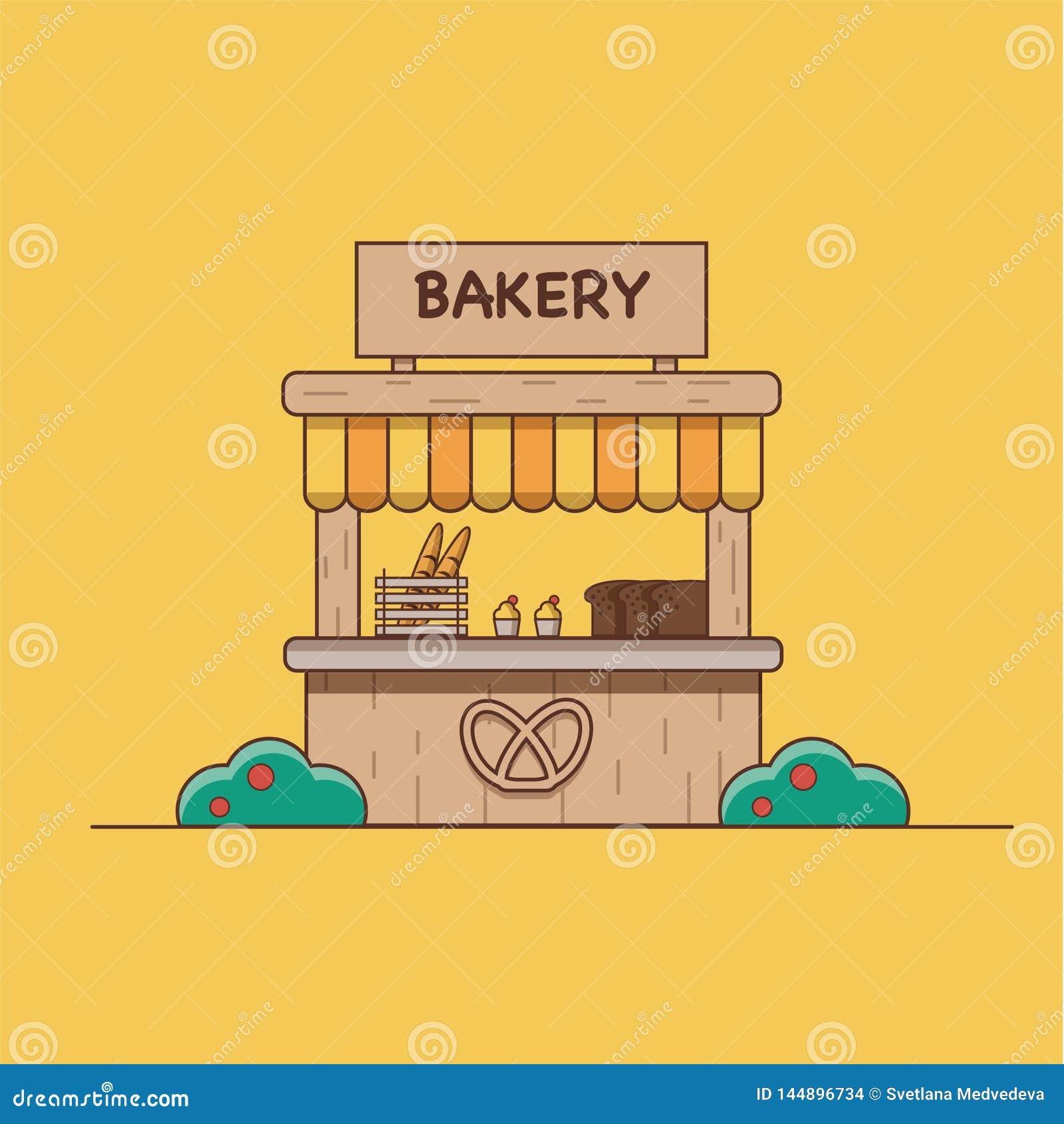 Wektorowa ilustracja która przedstawia piekarnię na pomarańczowym tle