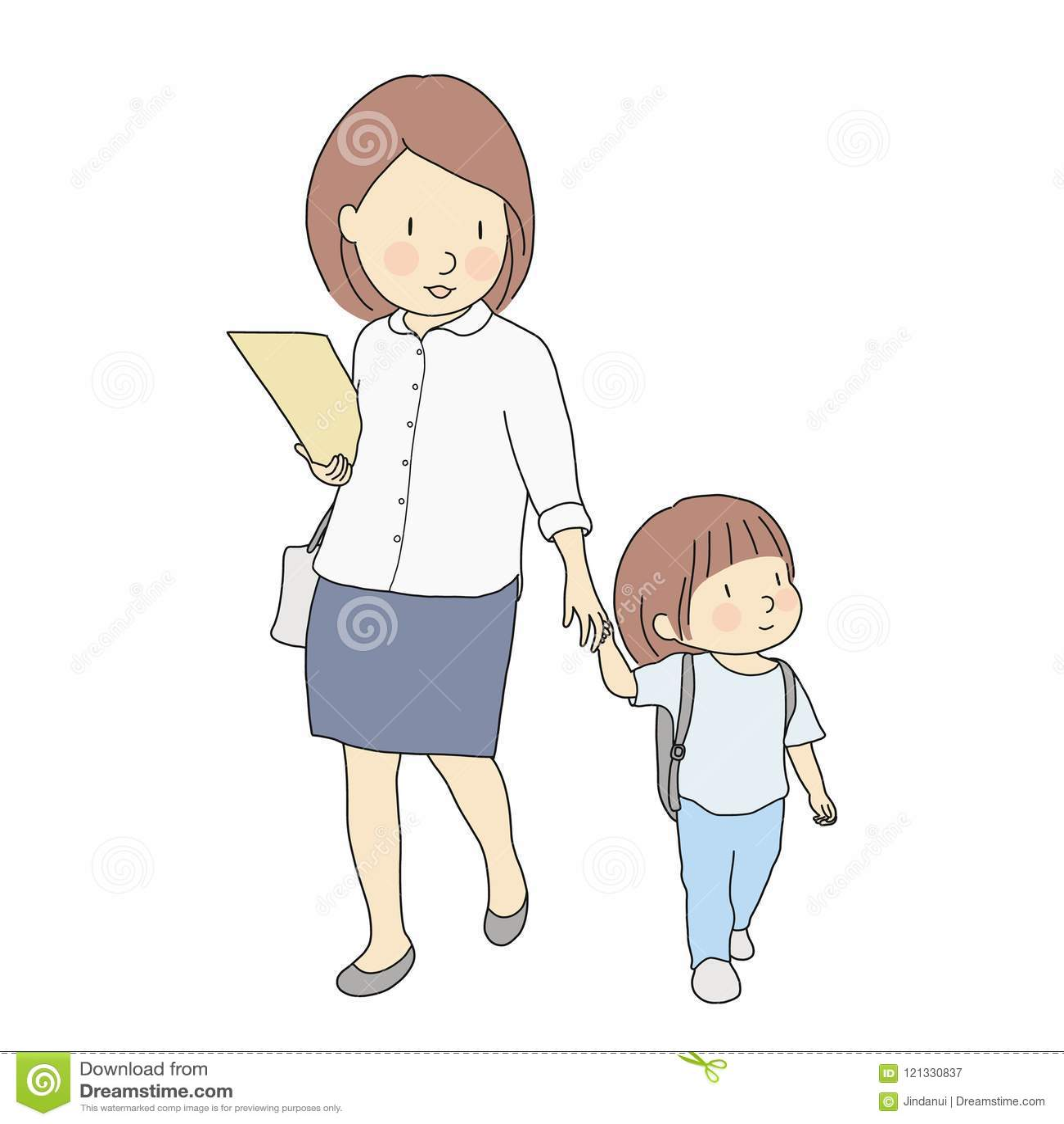 Wektorowa ilustracja małe dzieci niesie szkolnego plecaka odprowadzenie szkoła z matką Wczesne dzieciństwo rozwój, pierwszy dzień