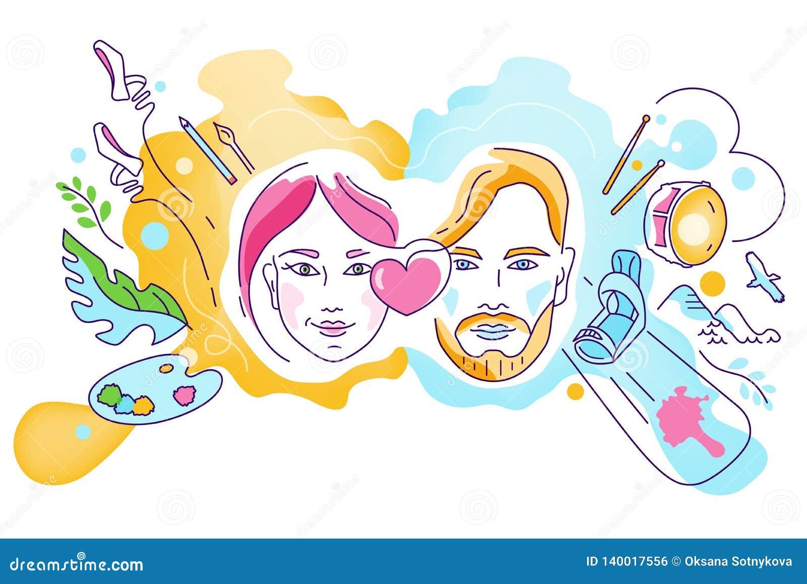 Wektorowa ilustracja na temacie różnorodni interesy, hobby, pasja ludzie