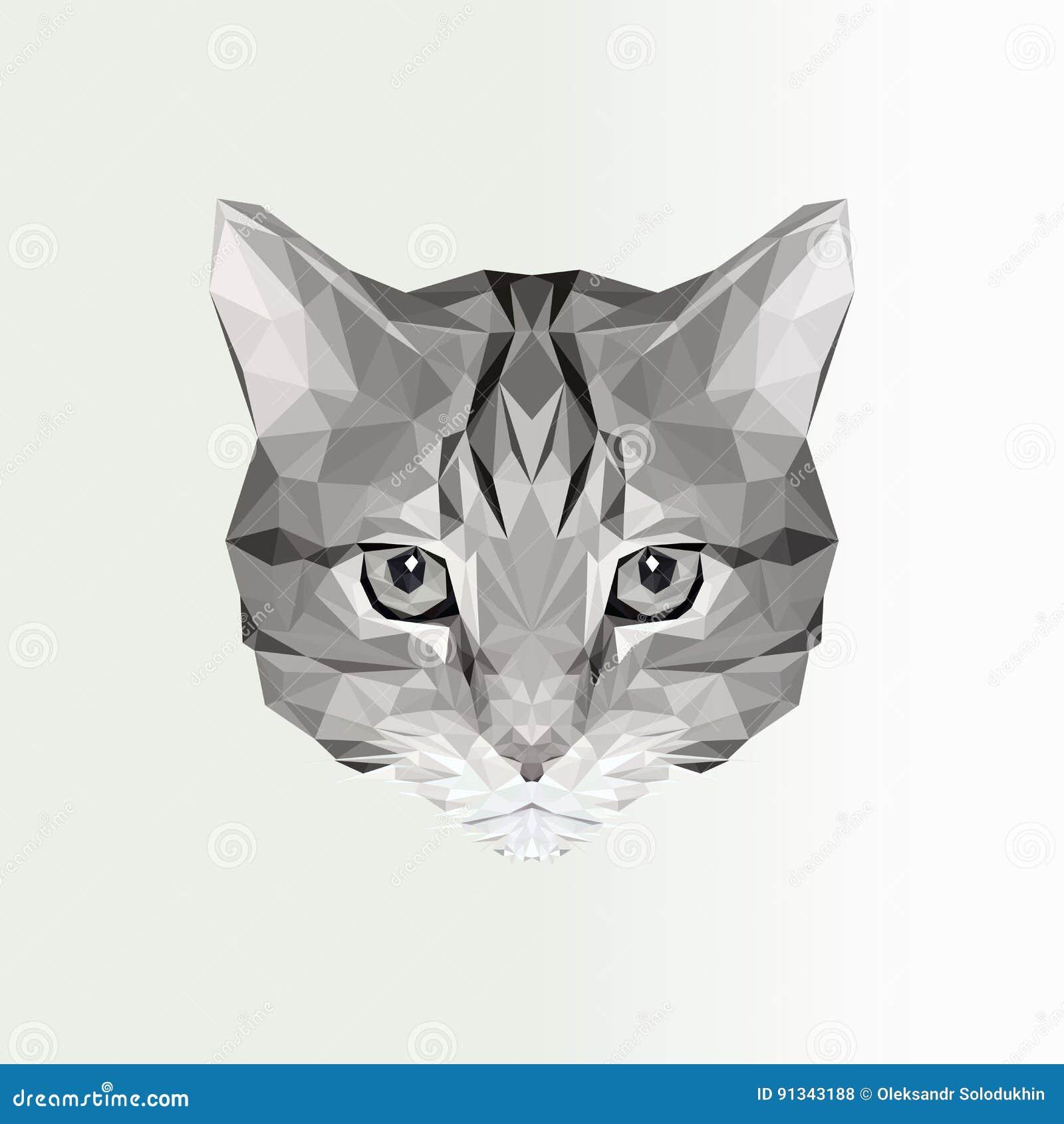 Wektorowa Ilustracja Niska Poli Kot Ikona Geometryczna