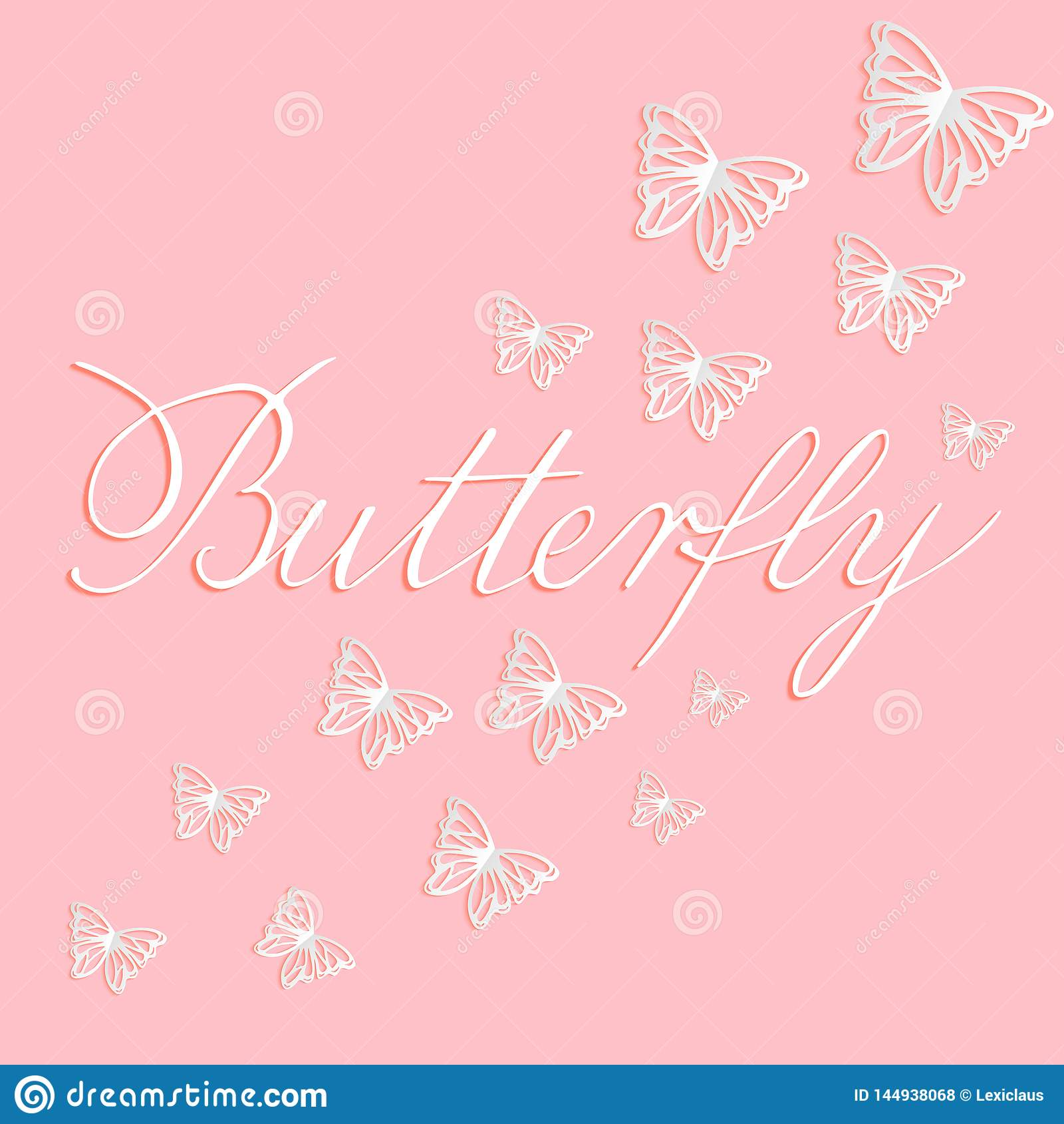 Wektorowa ilustracja papieru cięcia biali motyle na różowym tle