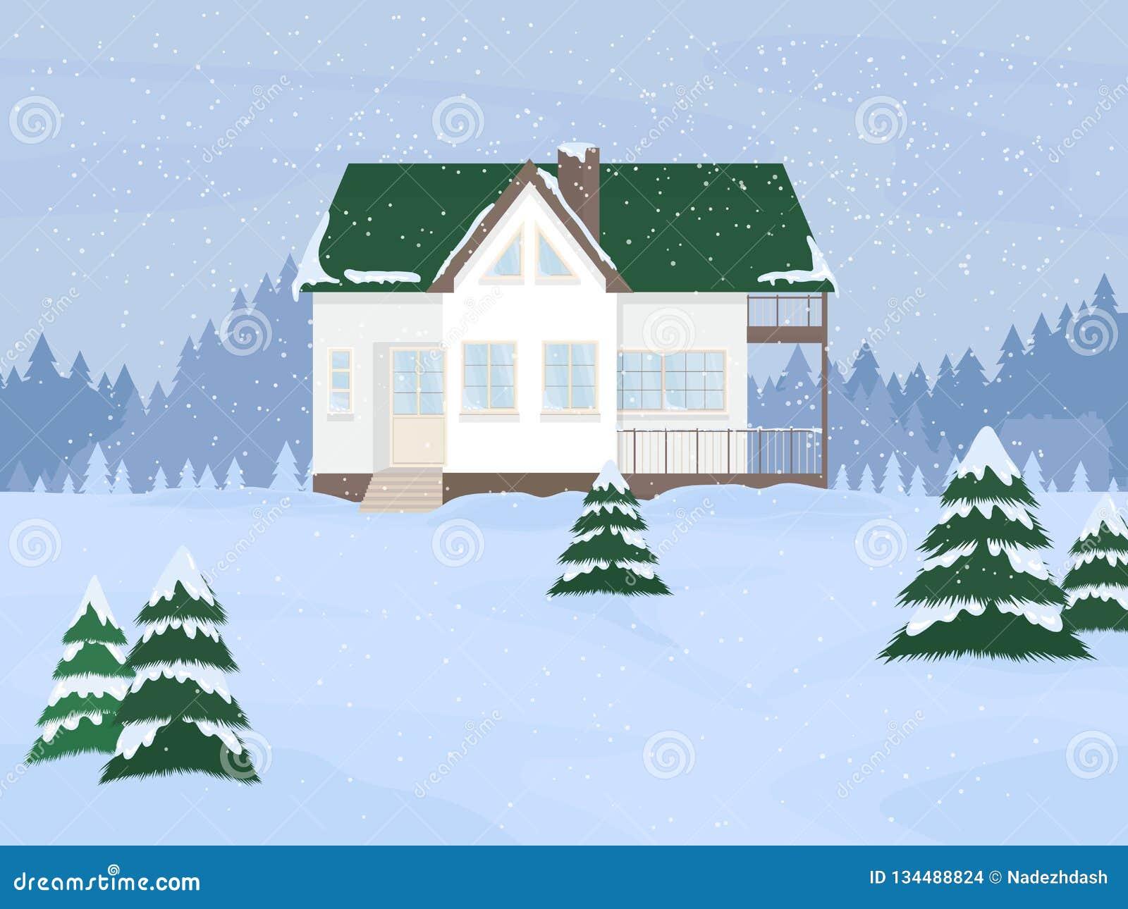 Wektorowa ilustracja podmiejski rodzina dom z mansardą i jodły przeciw zimie kształtujemy teren tło