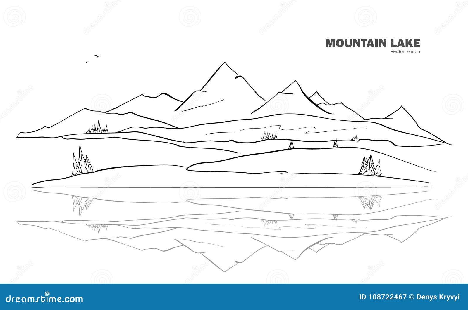 Wektorowa ilustracja: Ręka rysujący Halny Jeziorny nakreślenie krajobraz z sosną i odbiciem
