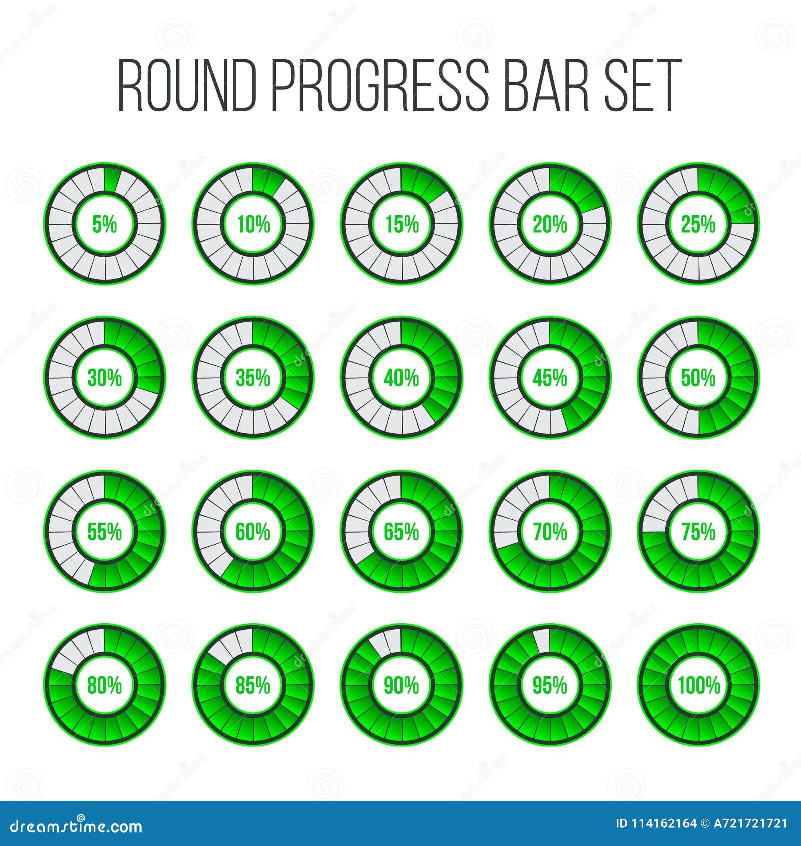Wektorowa ilustracja round postępu bar Okregów wskaźników status Ładujący odsetek ikony set i buforujący Kółkowy interwał