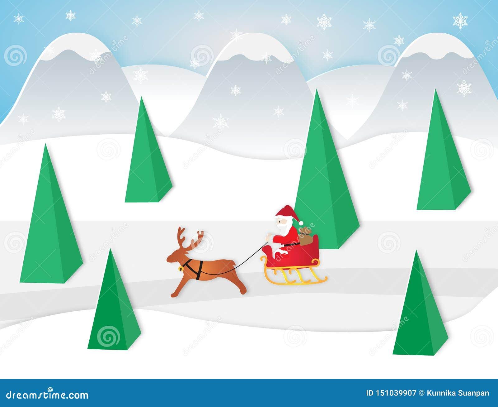 Wektorowa ilustracja Santa Claus obsiadanie w saniu z reniferem