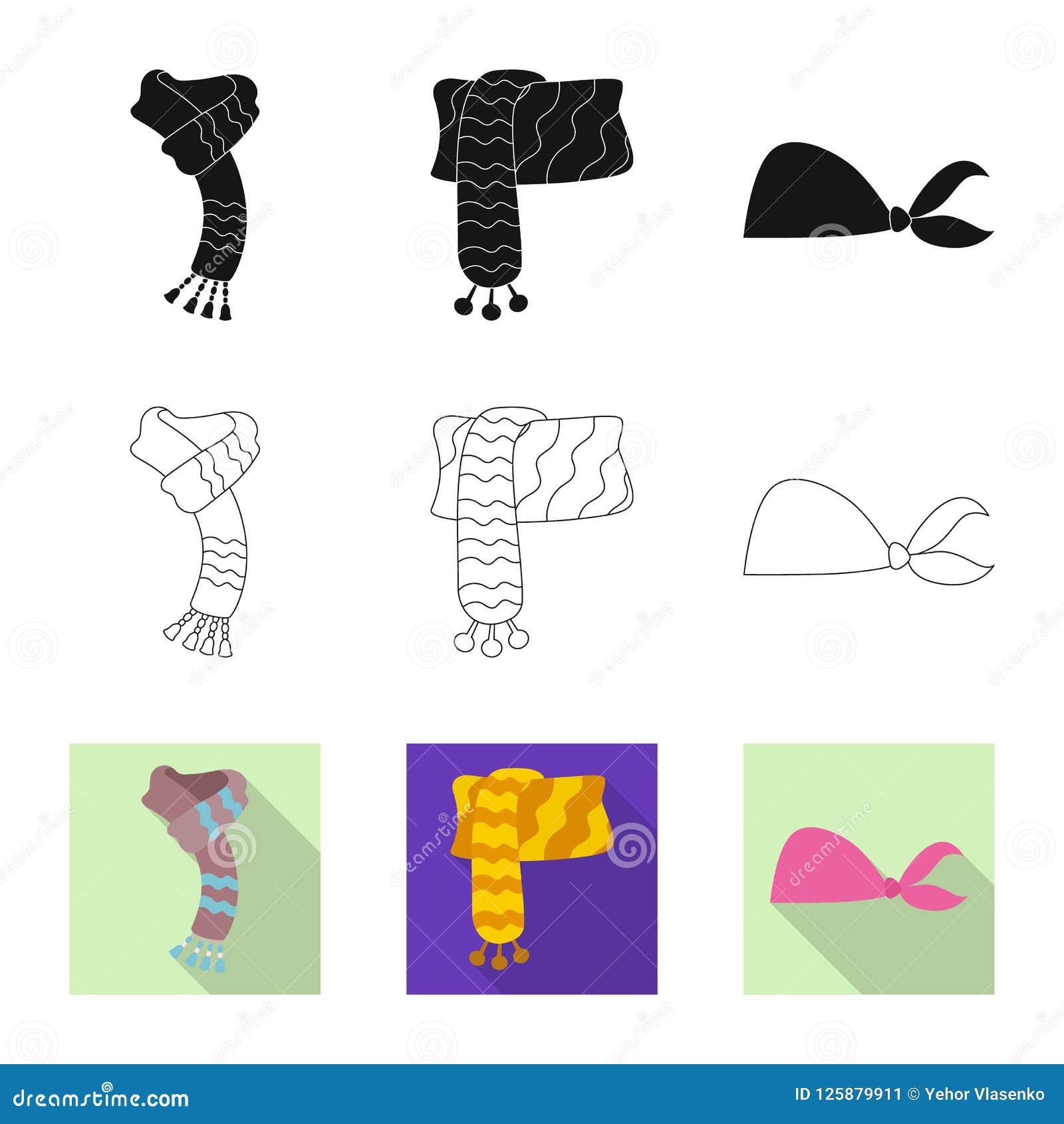 Wektorowa ilustracja szalika i chusty logo Kolekcja szalika i akcesorium akcyjna wektorowa ilustracja