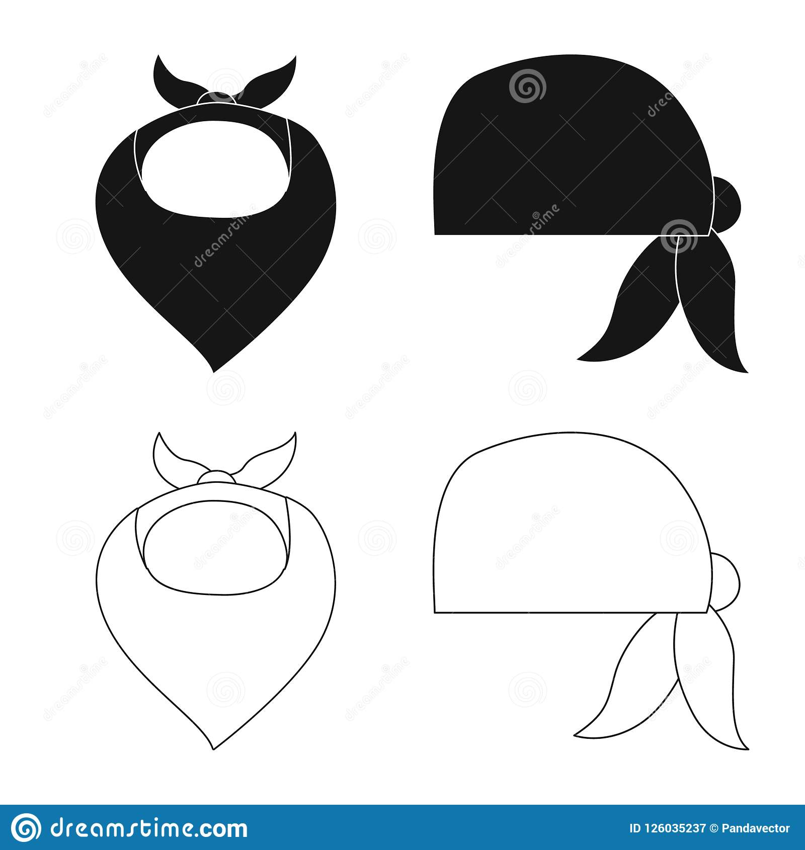 Wektorowa ilustracja szalika i chusty logo Set szalika i akcesorium akcyjna wektorowa ilustracja