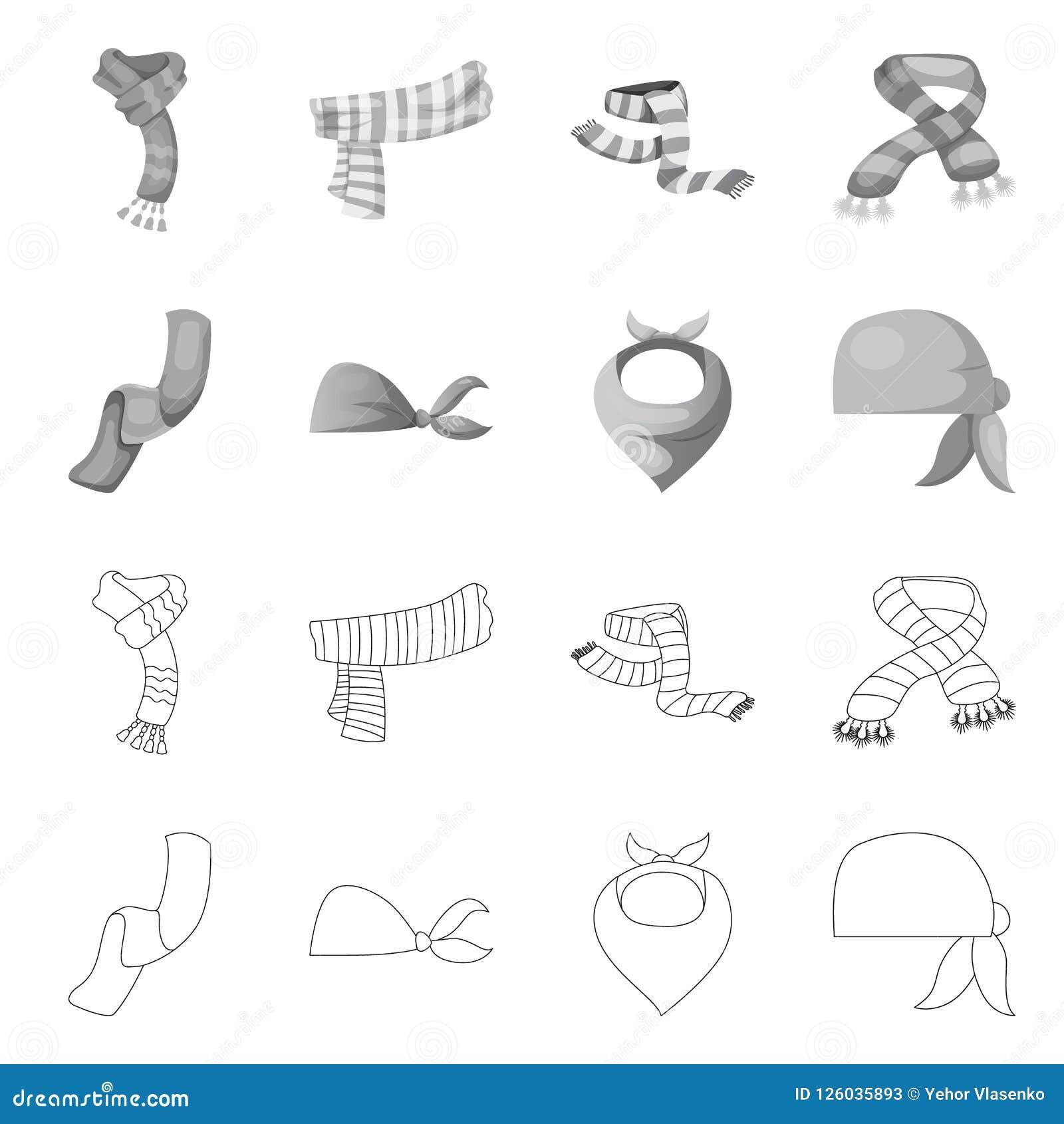 Wektorowa ilustracja szalika i chusty znak Kolekcja szalika i akcesorium akcyjna wektorowa ilustracja