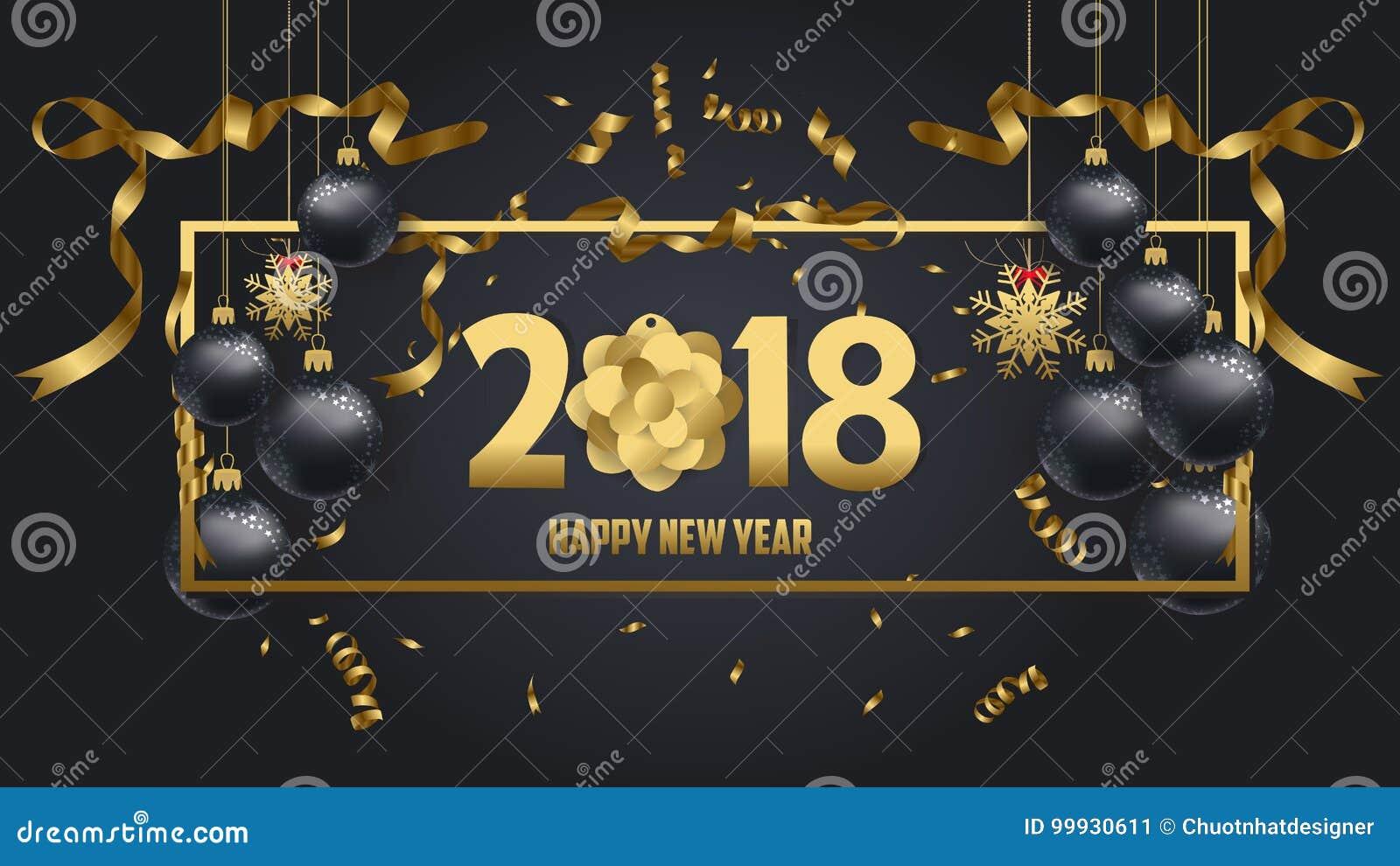 Wektorowa ilustracja szczęśliwy nowego roku 2018 złoto i czerń kolory
