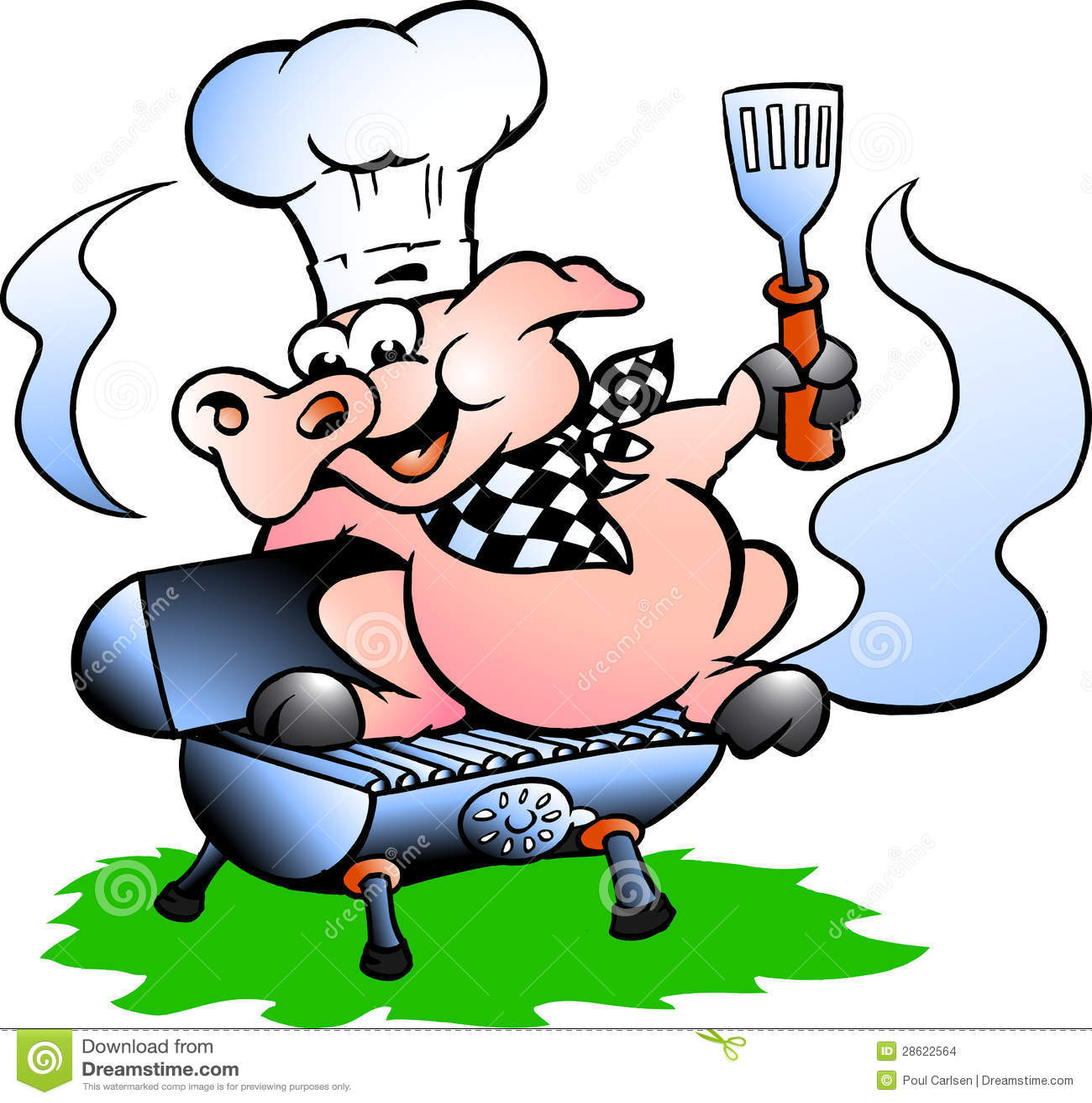 Wektorowa ilustracja szef kuchni Świniowata pozycja na BBQ baryłce