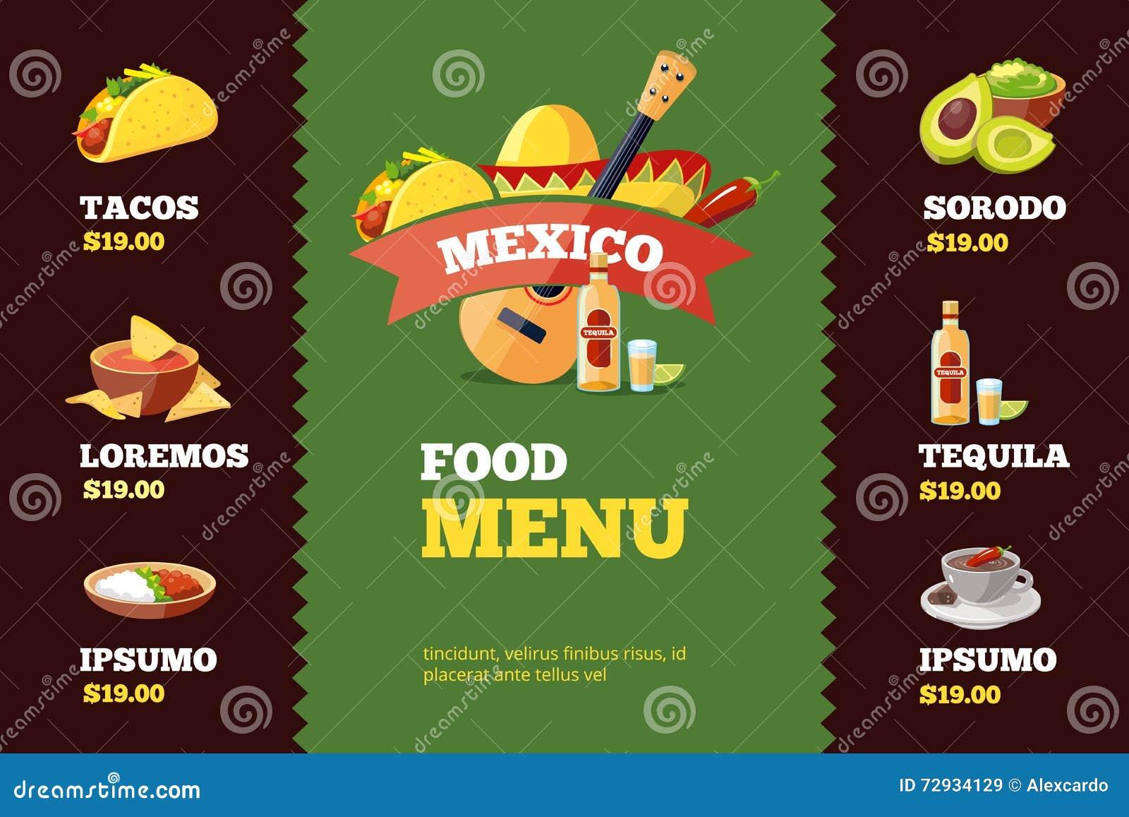 Wektorowa ilustracja tło menu restauracyjny szablon z Meksykańskim jedzeniem