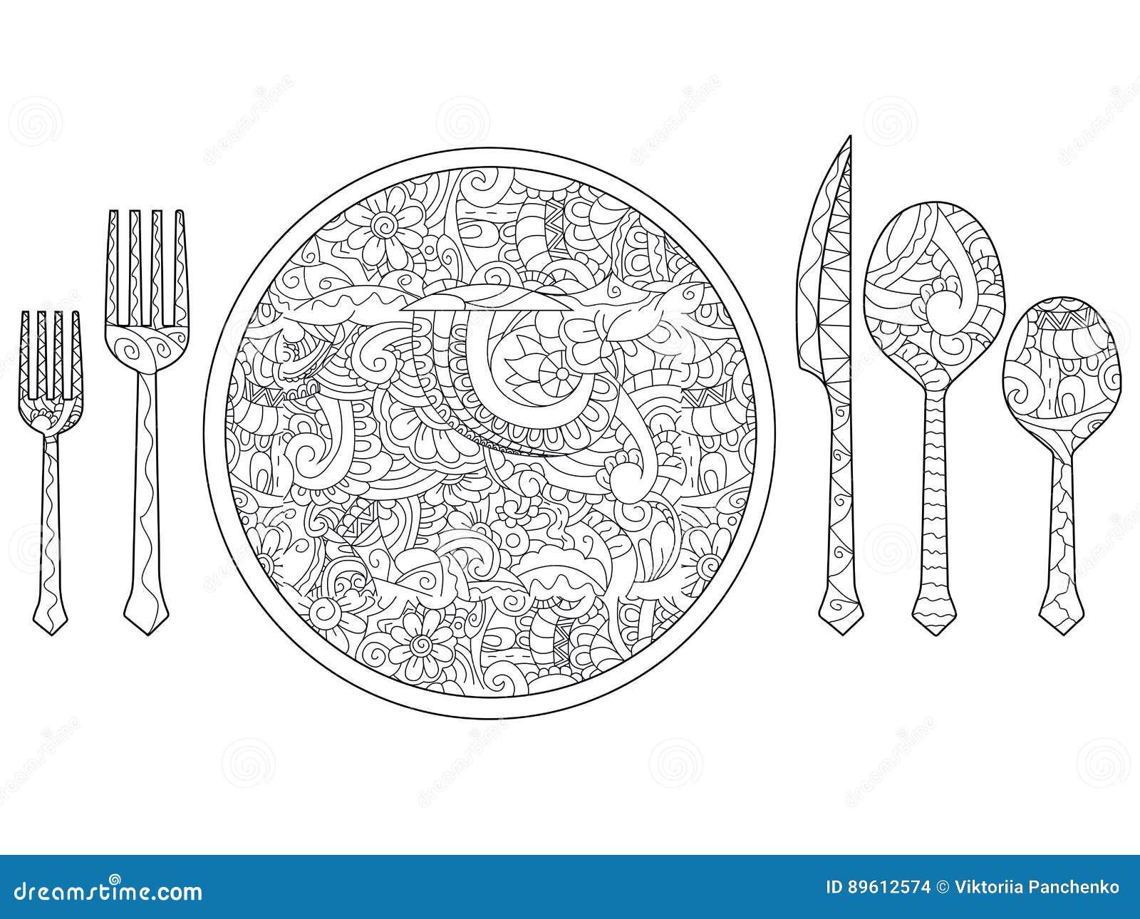 Wektorowa ilustracja talerz, nóż, łyżka i rozwidlenie, Cutlery set