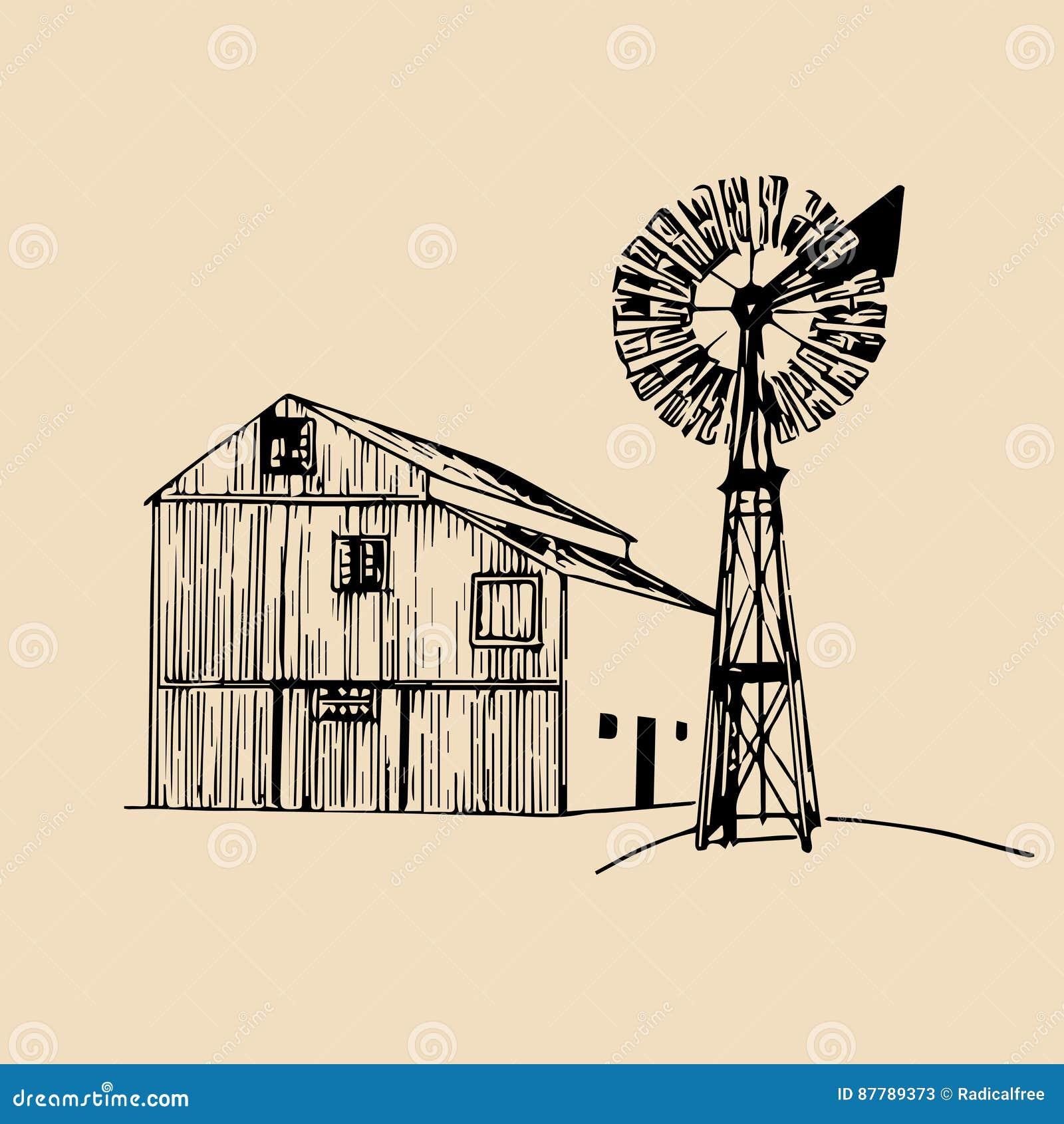 Wektorowa ilustracja tradycyjna rolna stajnia z wiatraczkiem w kreślącym stylu Organicznie życiorys produkty plakatowi Eco jedzen