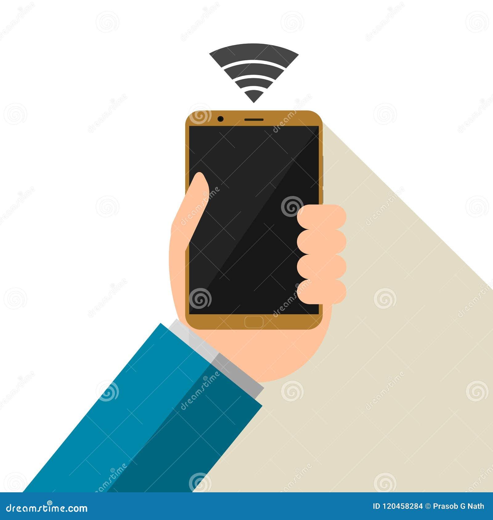 Wektorowa ilustracja trzyma up smartphone z białym tłem biznesmen czarny ekran sieci