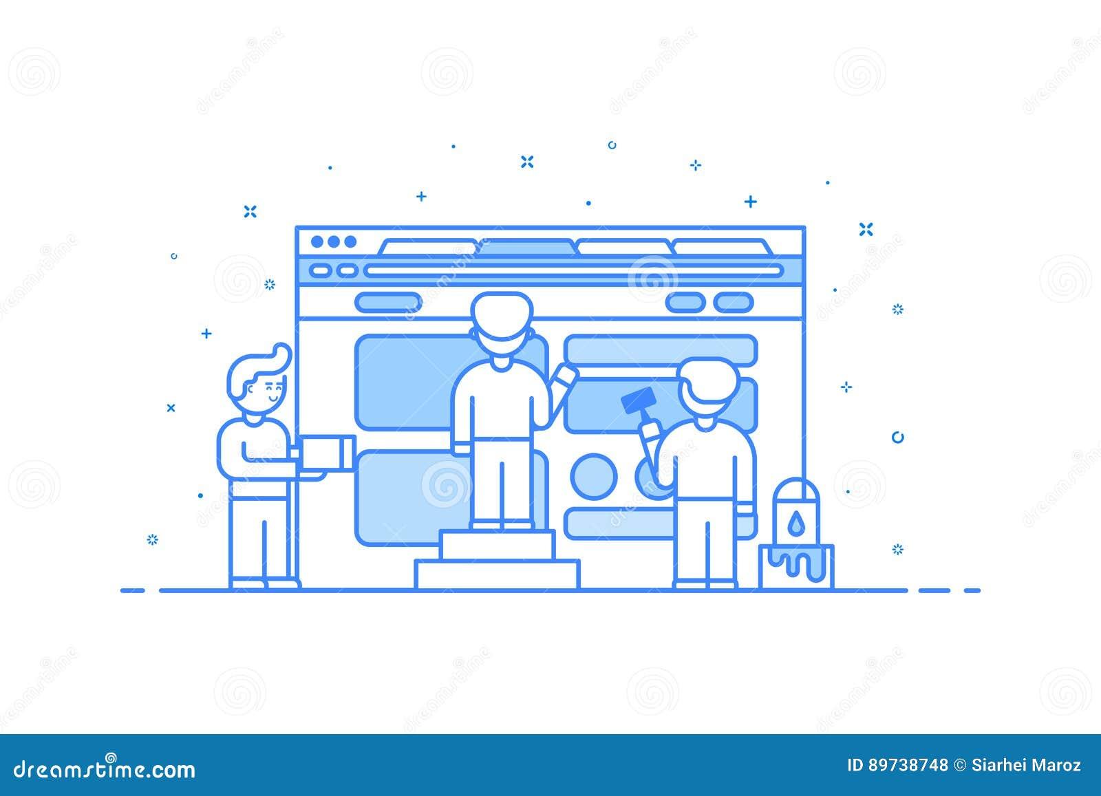 Wektorowa ilustracja w płaskim konturu stylu Graficznego projekta pojęcie sieć i interfejsu użytkownika rozwój