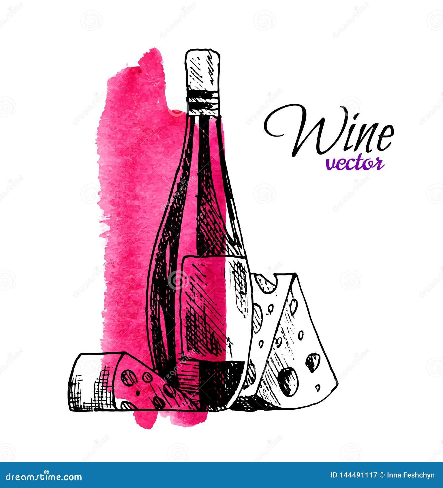 Wektorowa ilustracja wino ser i butelka Wr?cza patroszonego kre?l?cego jedzenia i napoju set smakosz z akwarel?