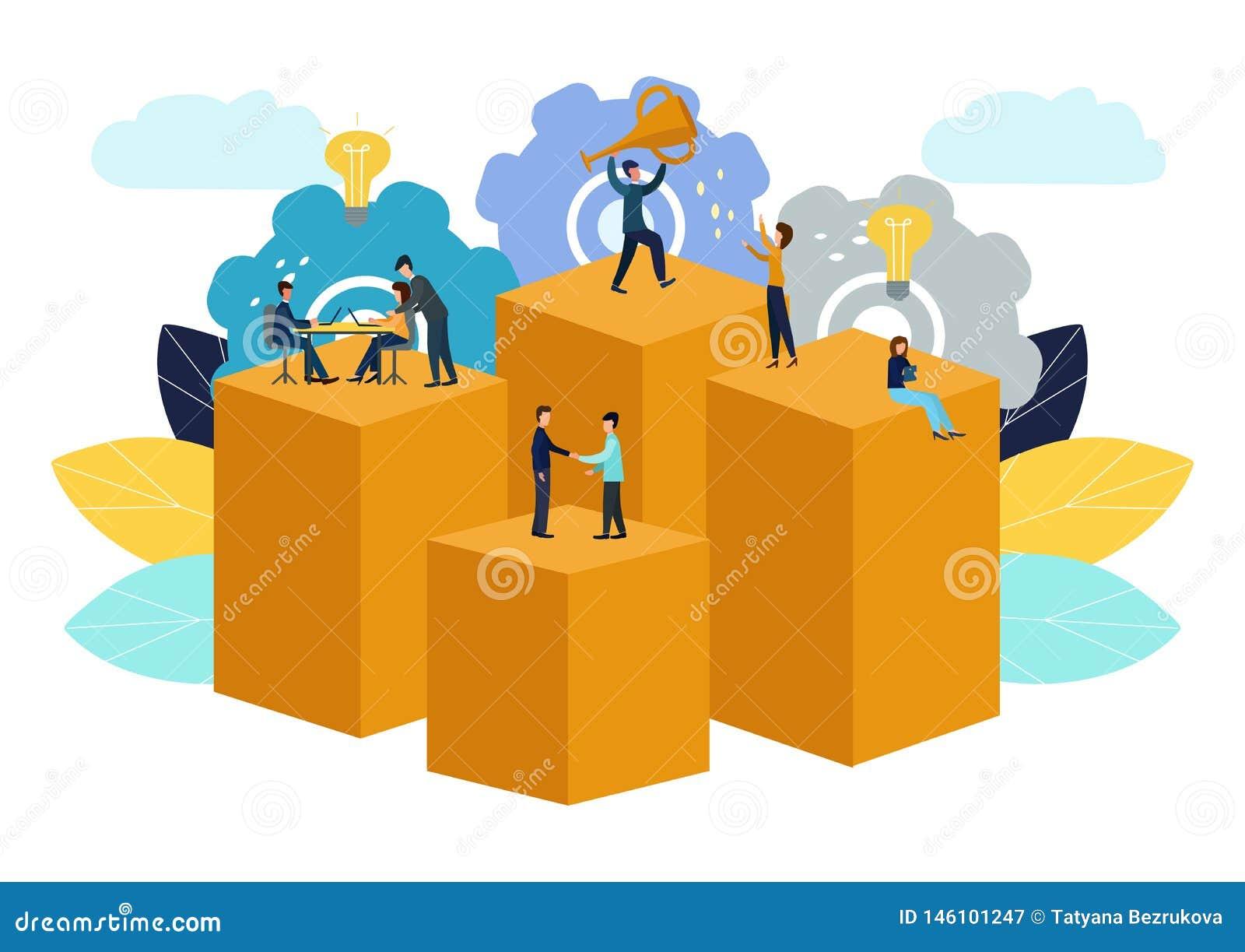 Wektorowa ilustracja, wirtualny biznesowy asystent praca zespo?owa, brainstorming, nowi pomys?y, dokonuje cele, nowi zwyci?stwa