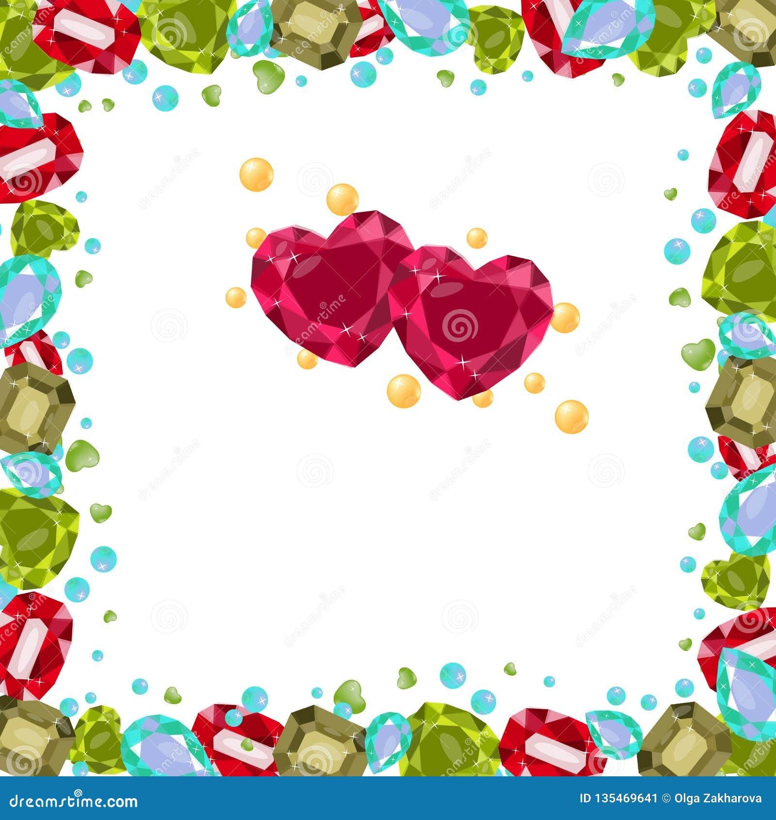 Wektorowa ilustracja z cennymi gemstones, barwiącymi, rama Różni kształty, serce, bonkreta, ośmiobok, antyk Perły są żółte f