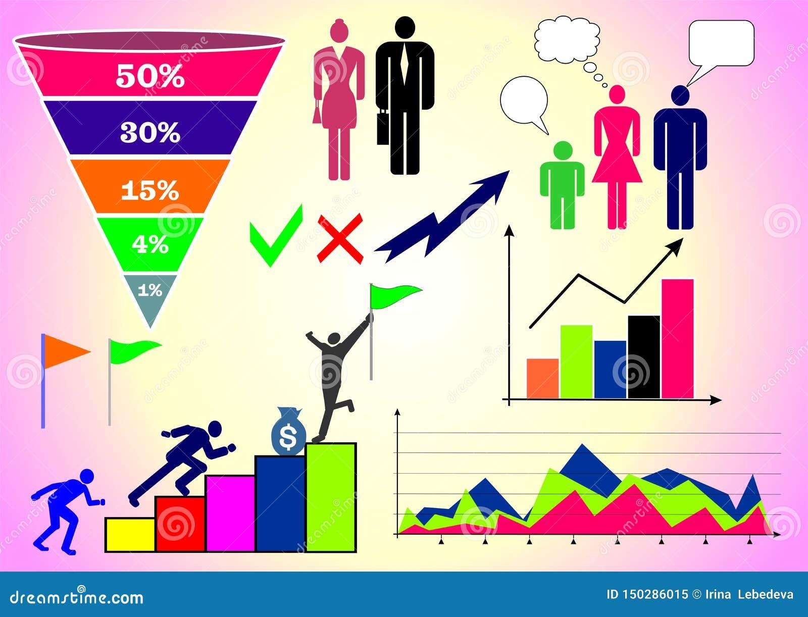 Wektorowa ilustracja z infographics: ludzie, biznes, finanse, wykresy, mapy i różnorodne postacie,