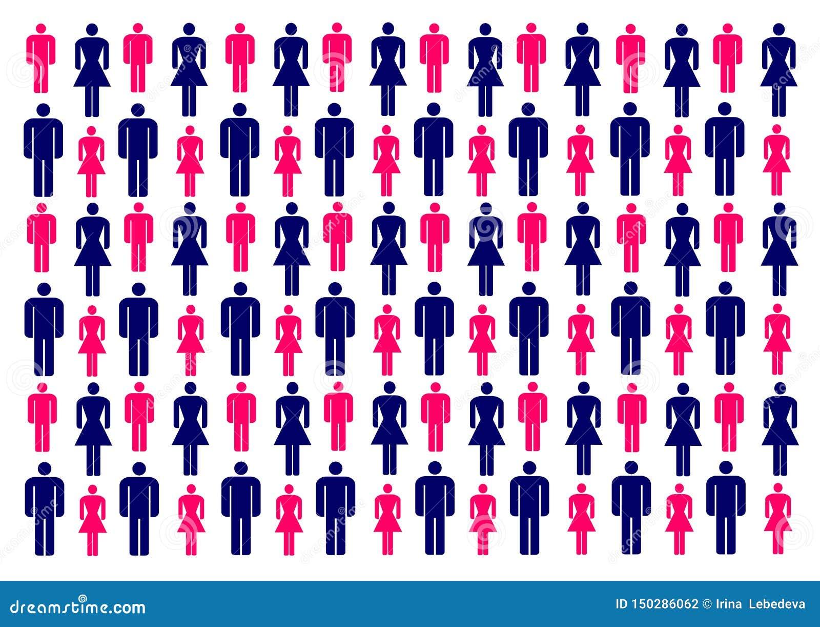 Wektorowa ilustracja z kolorowymi sylwetkami mężczyźni i kobiety