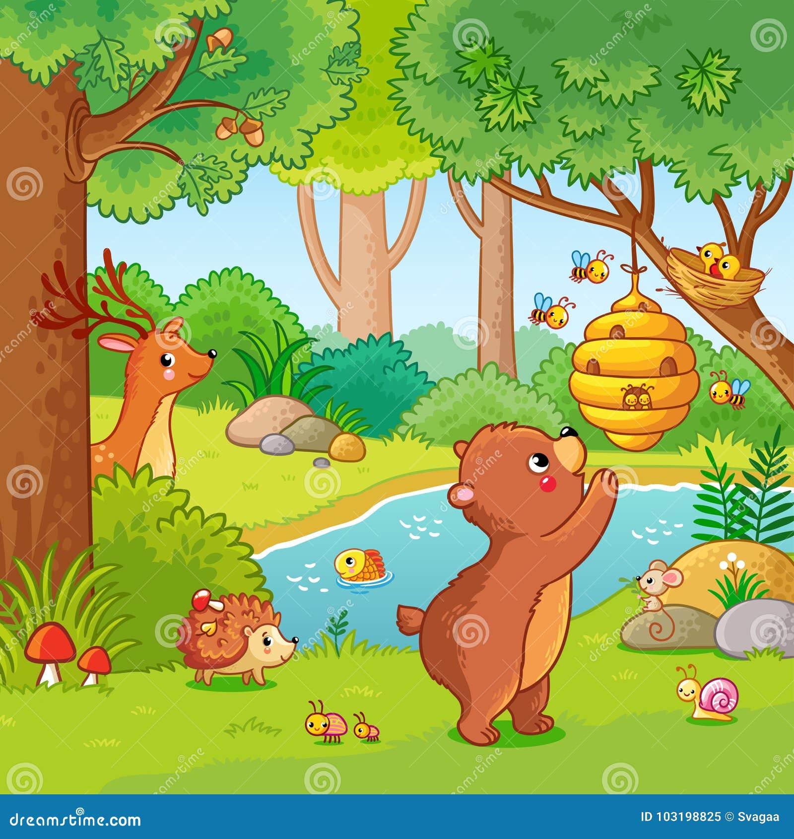 Wektorowa ilustracja z niedźwiedziem który chce miód