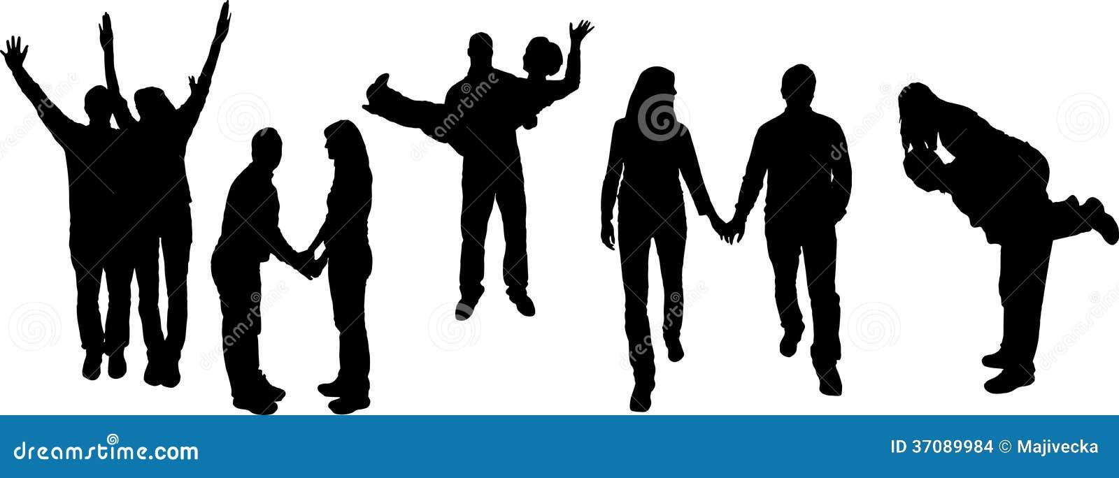 Download Wektorowa Ilustracja Z Rodzinnymi Sylwetkami. Ilustracja Wektor - Ilustracja złożonej z chłopak, kochankowie: 37089984