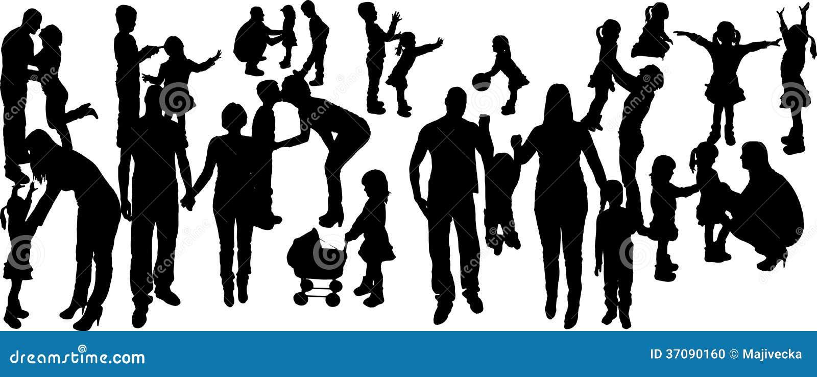 Download Wektorowa Ilustracja Z Rodzinnymi Sylwetkami. Ilustracja Wektor - Ilustracja złożonej z czerń, dorosły: 37090160
