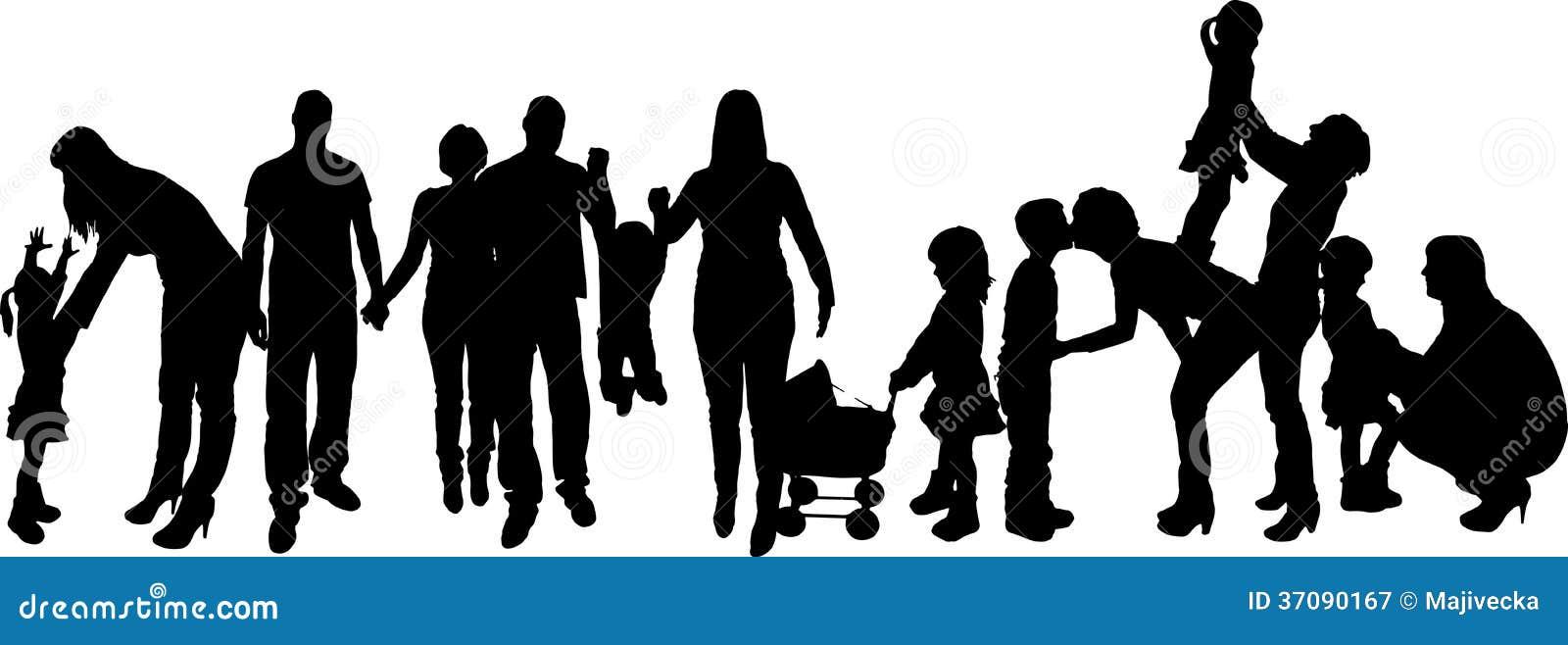 Download Wektorowa Ilustracja Z Rodzinnymi Sylwetkami. Ilustracja Wektor - Ilustracja złożonej z pary, szczęśliwy: 37090167