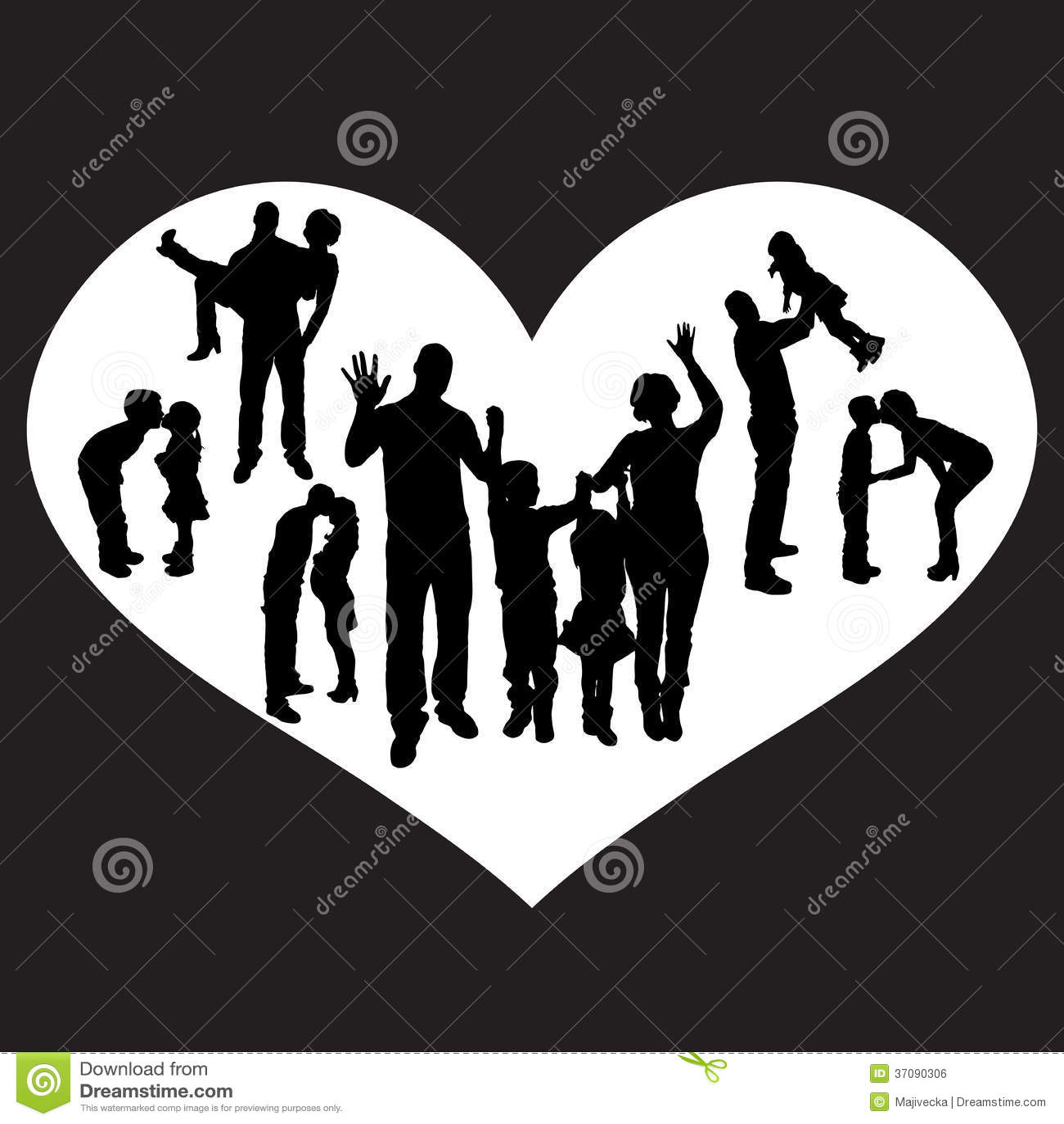Download Wektorowa Ilustracja Z Rodzinnymi Sylwetkami. Ilustracja Wektor - Ilustracja złożonej z heart, szczęśliwy: 37090306