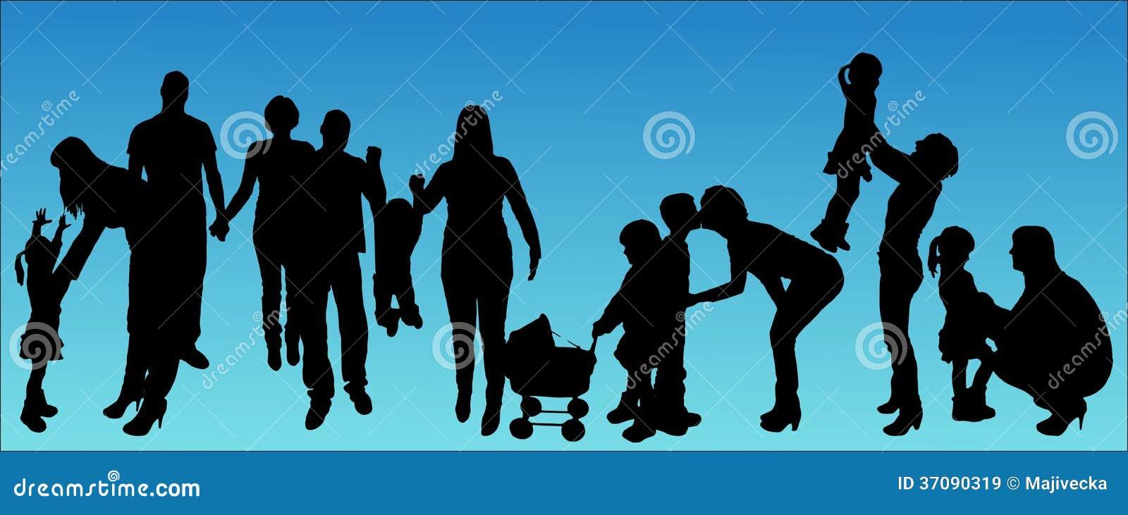 Download Wektorowa Ilustracja Z Rodzinnymi Sylwetkami. Ilustracja Wektor - Ilustracja złożonej z ilustracje, ręki: 37090319